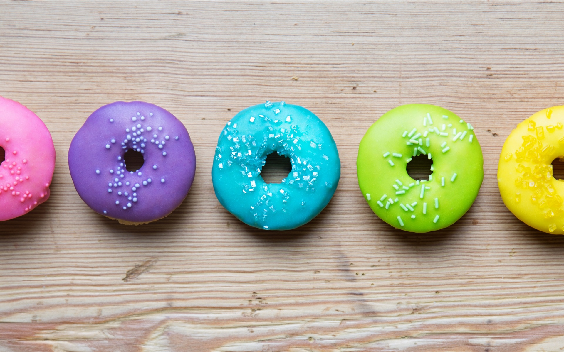 Wallpaper Colorful donuts, rainbow colors 3840x1200 Multi ...