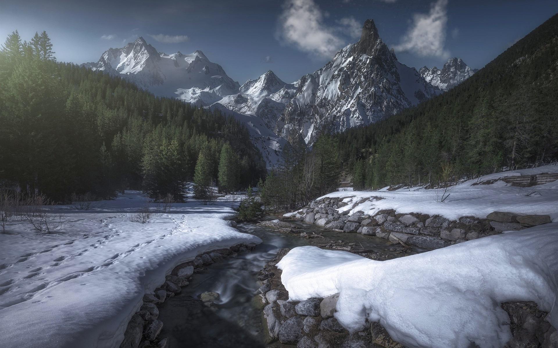 Fondo De Montañas Nevadas En Hd: Fondos De Pantalla Francia, Saboya, Montañas, árboles