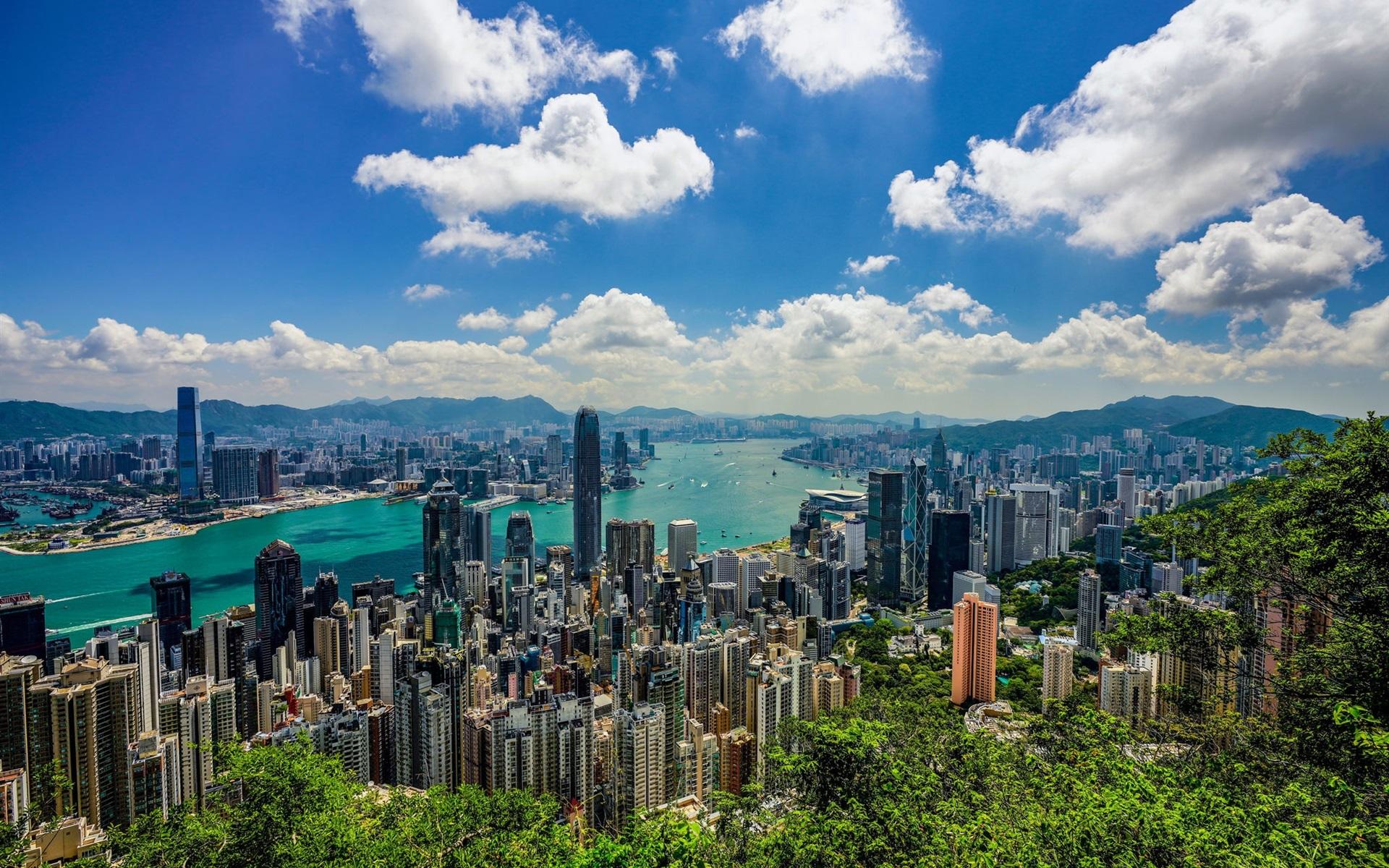 Wallpaper Hong Kong City View Sea Clouds Morning 1920x1200 Hd