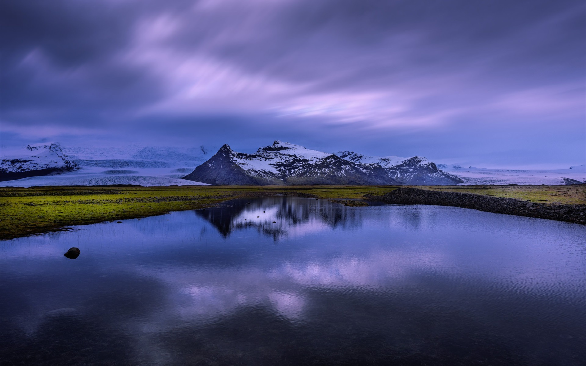 Lago Con Montañas Nevadas Hd: Fondos De Pantalla Islandia, Lago, Reflejo Del Agua