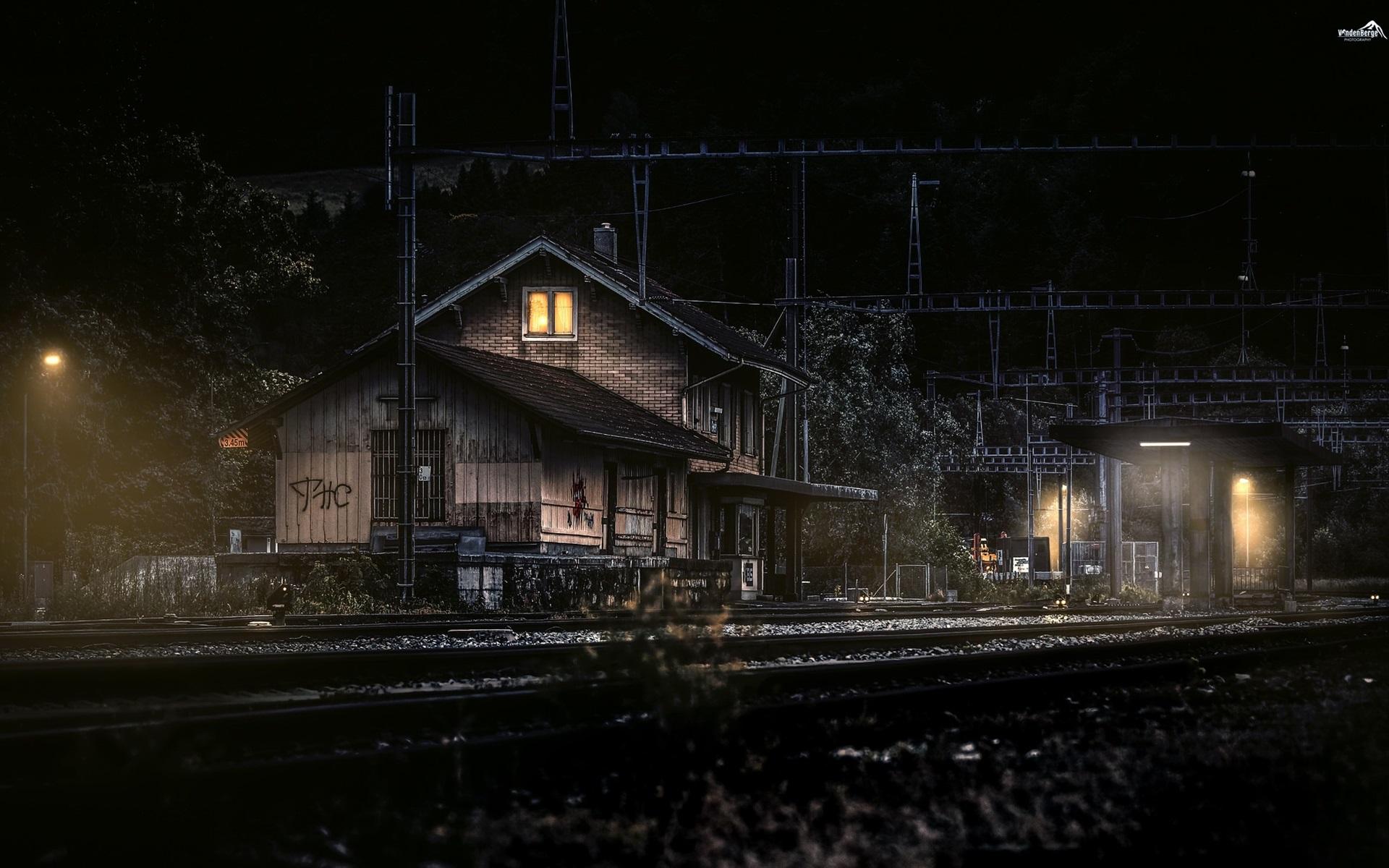 Обои ночь, станция, Железная дорога. Города foto 17
