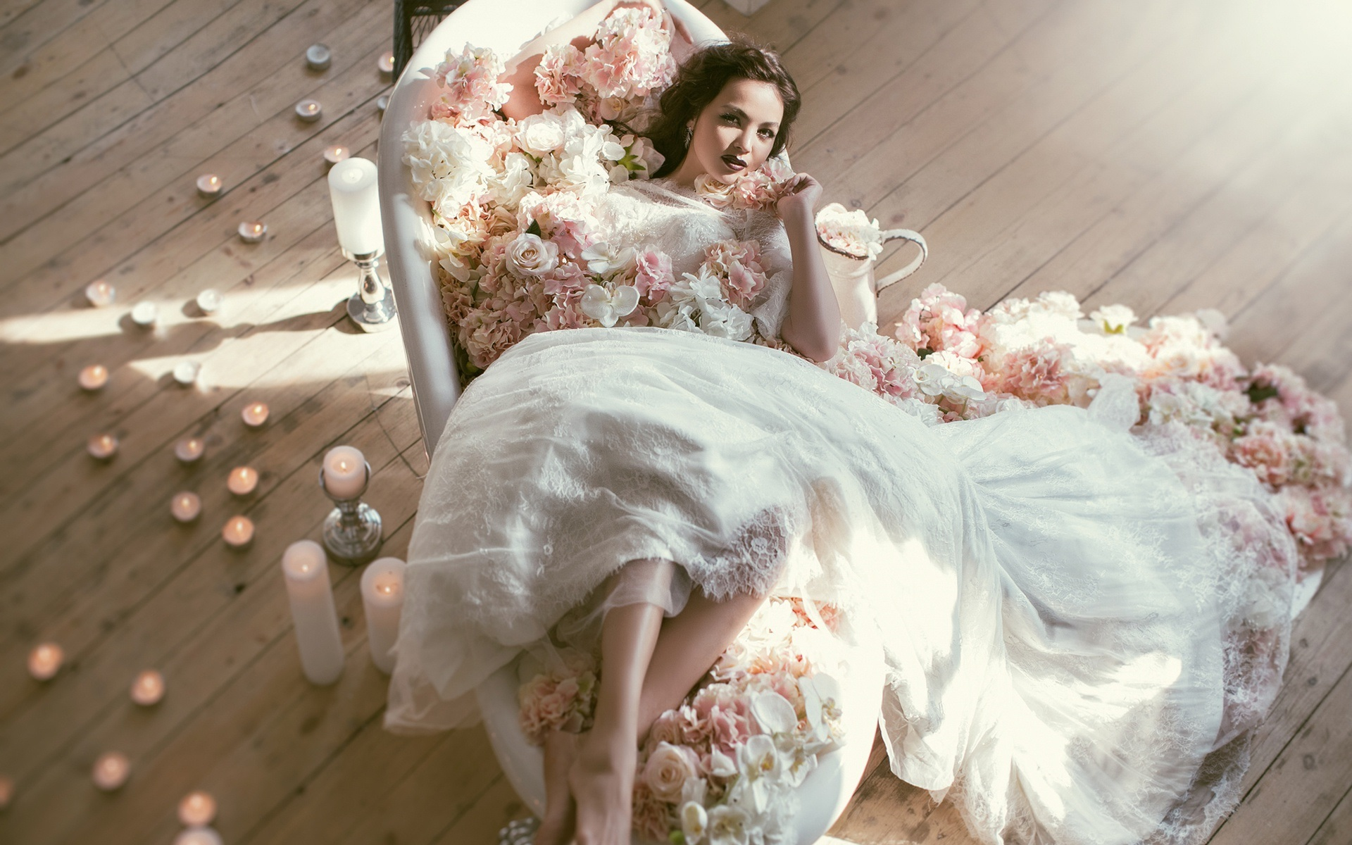 壁紙 ウェディングドレス 花嫁 花 ろうそく 1920x1200 Hd 無料の