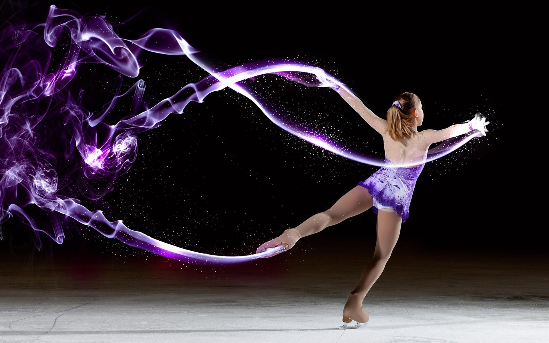 wallpaper abstraction dancing girl ice skates 1920x1200