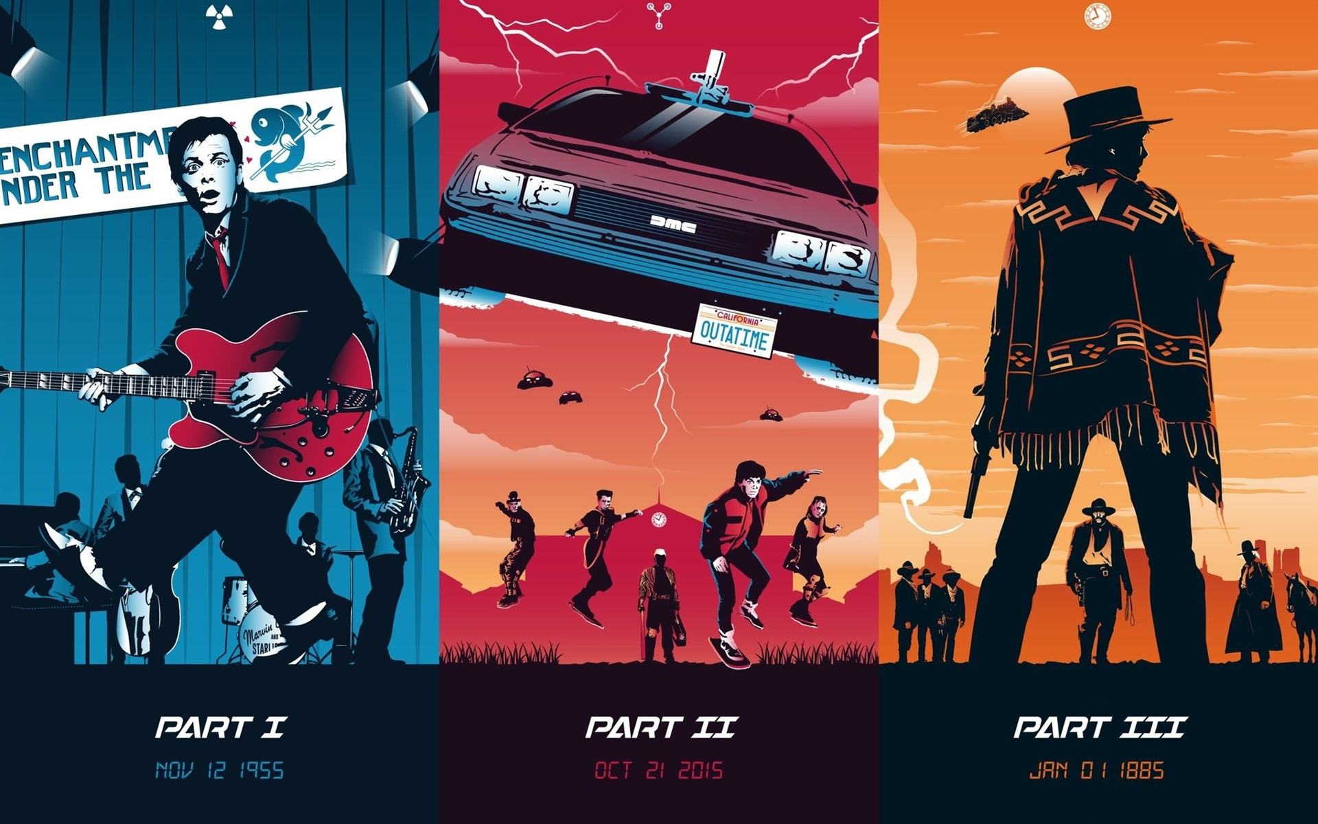 Wallpaper Back To The Future Trilogy Art Picture 1920x1200