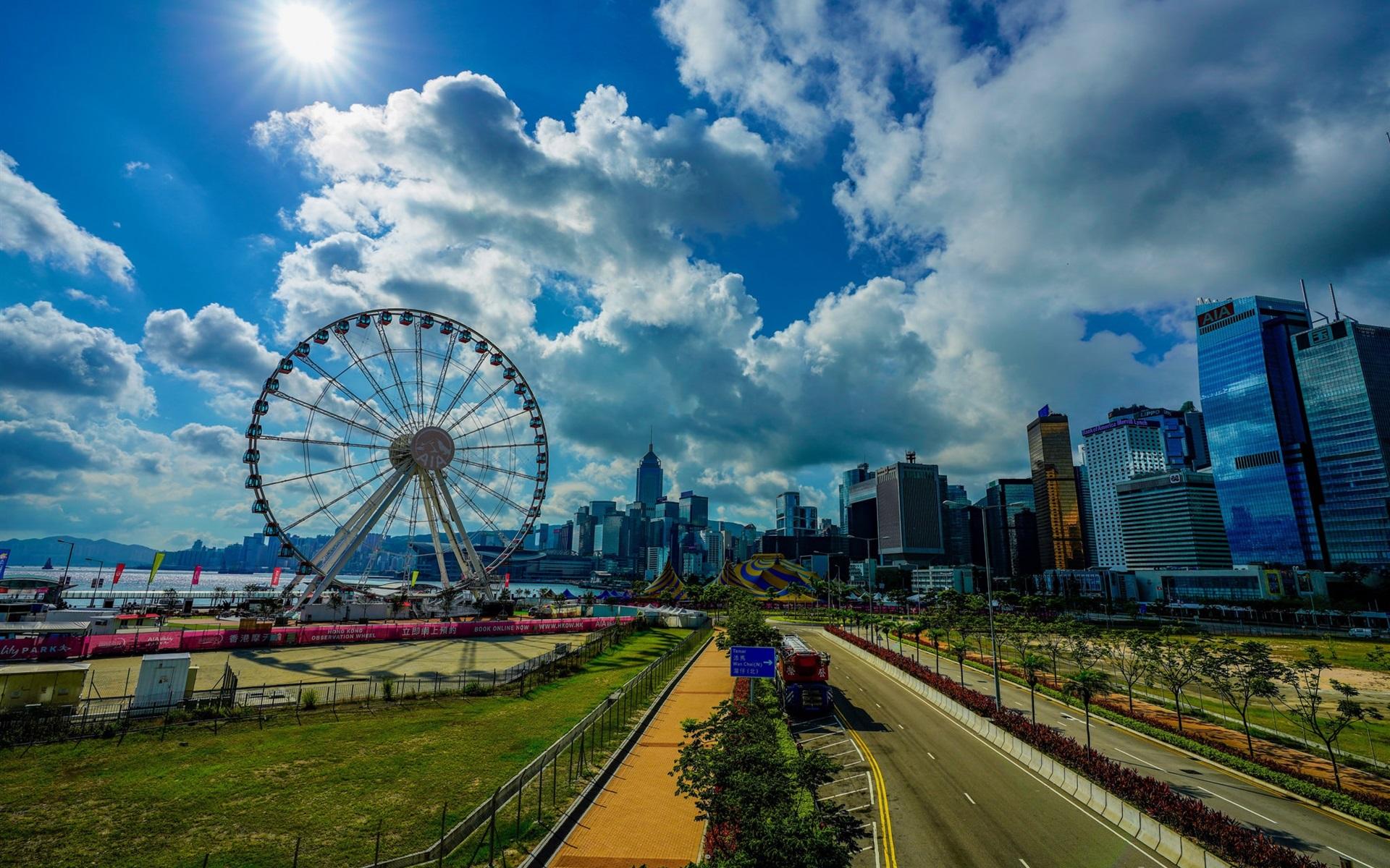 壁紙 香港 都市 朝 観覧車 1920x1200 Hd 無料のデスクトップの背景