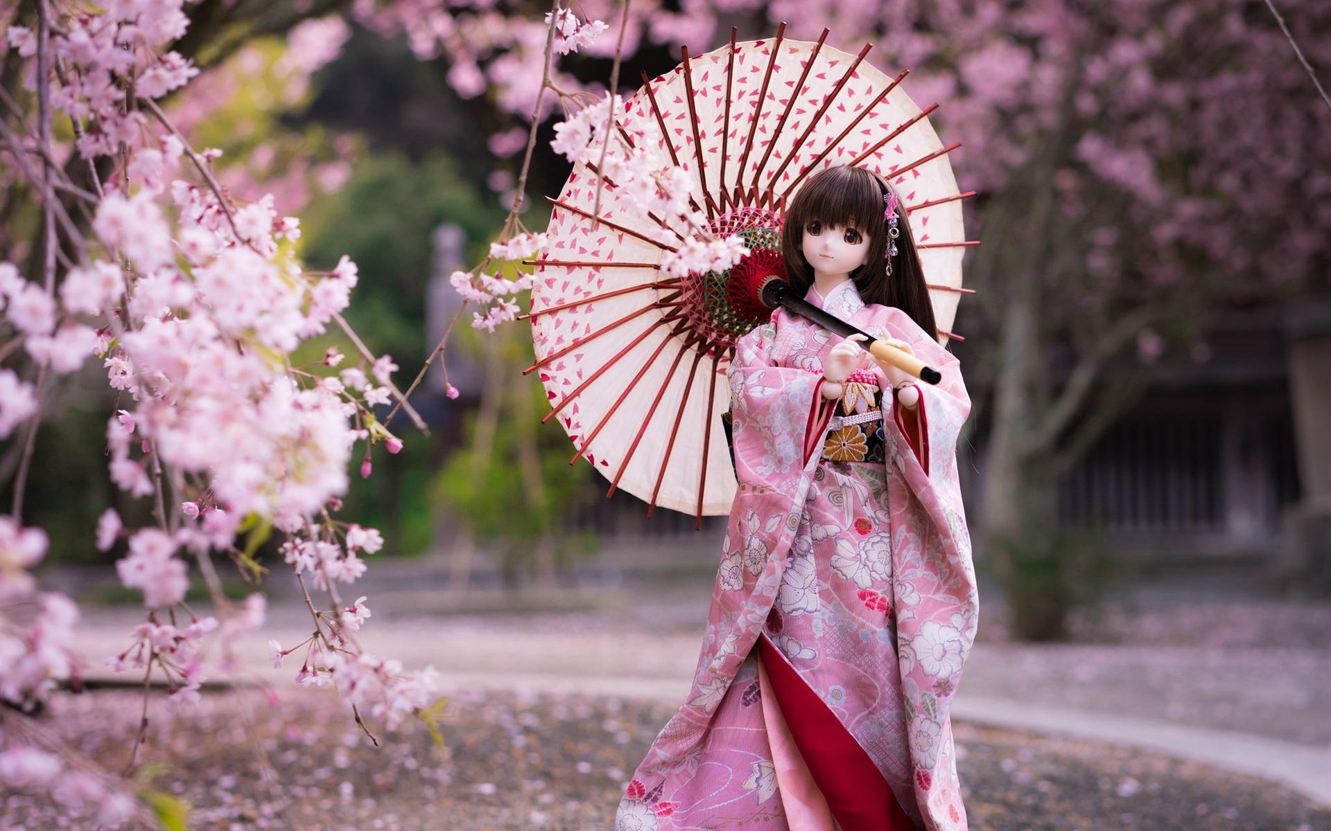 壁紙 和風人形少女 着物 傘 さくらの花 1920x1200 Hd 無料の