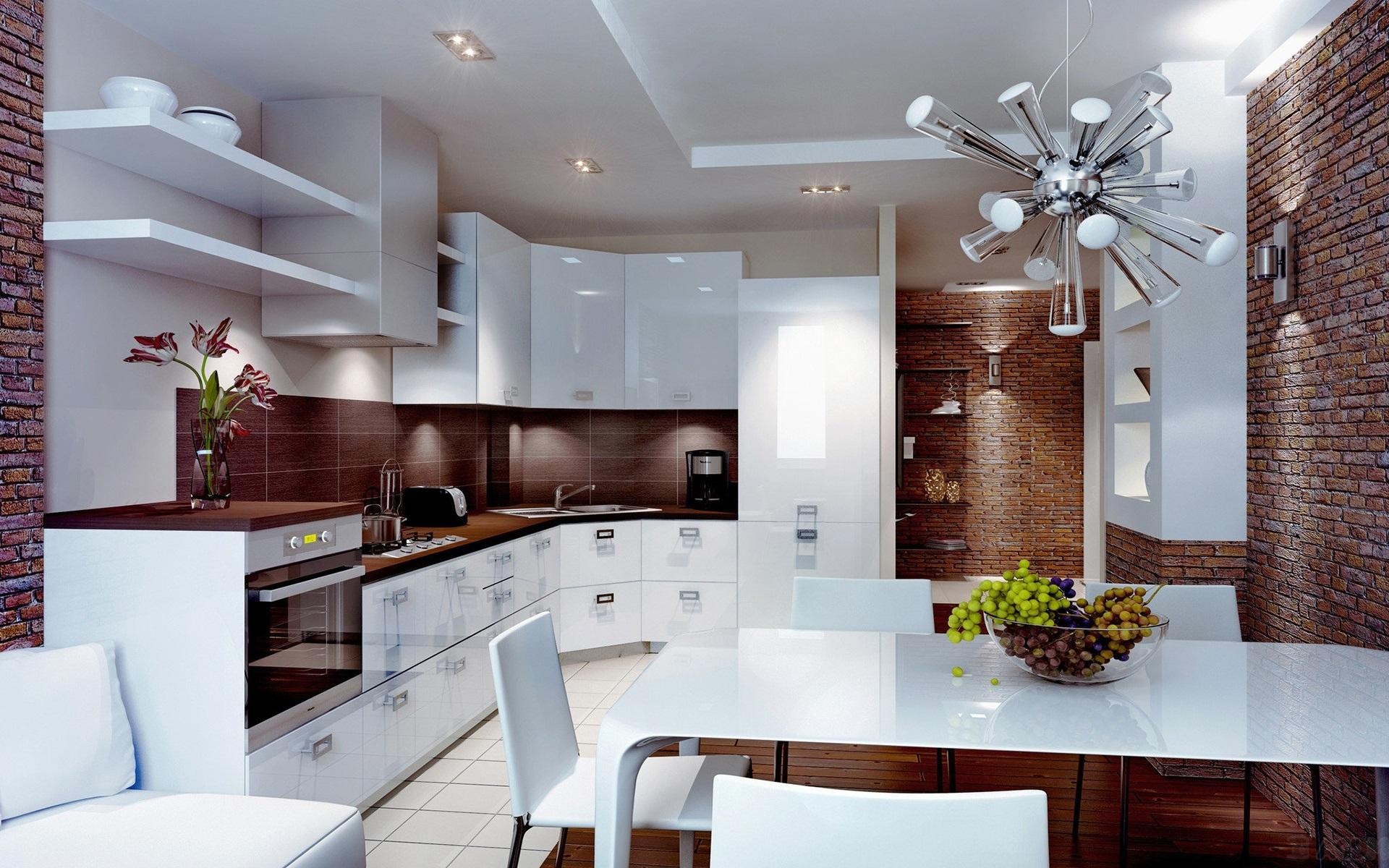Küche, weißer Stil, Esszimmer, Interieur 1920x1200 HD ...