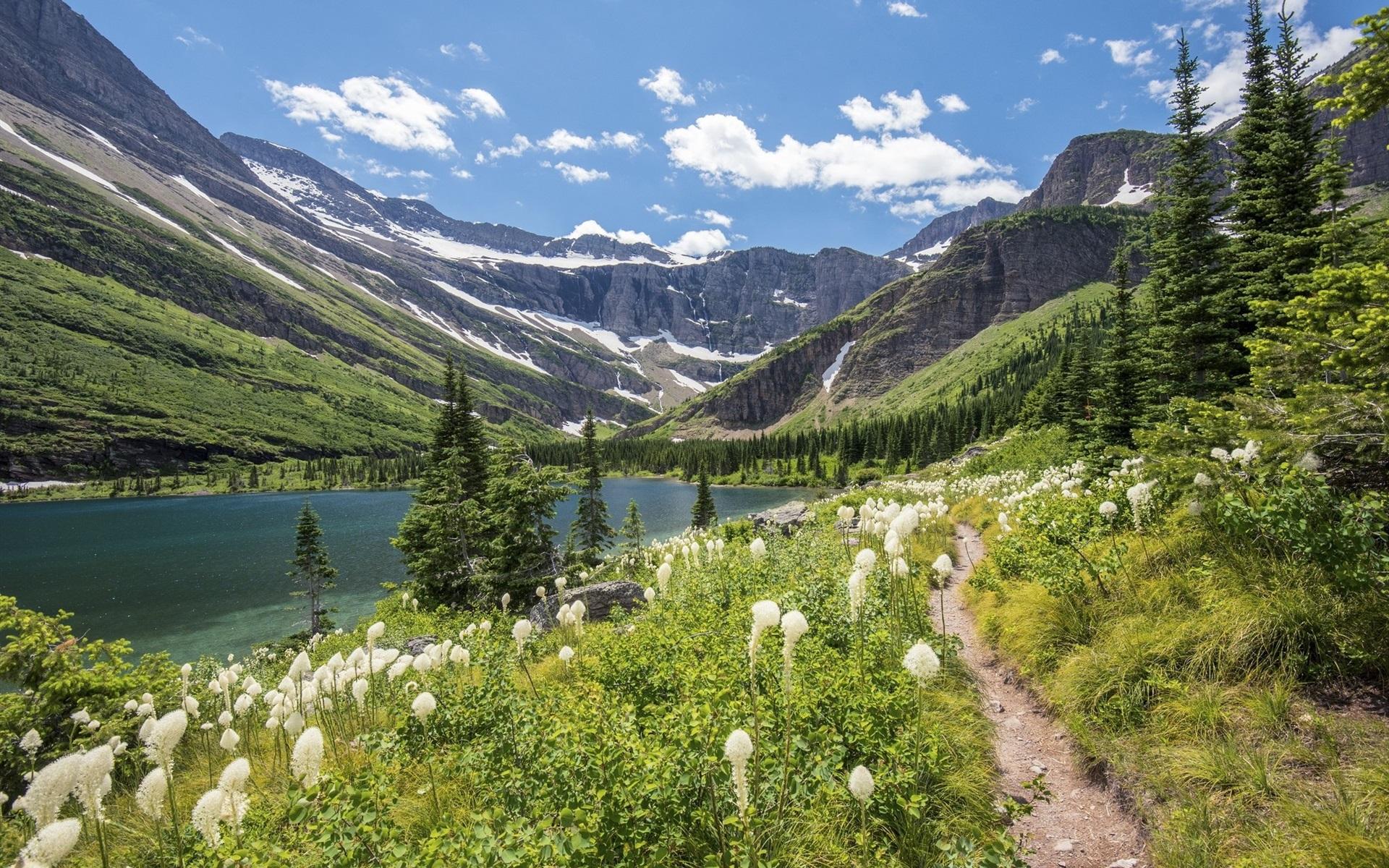壁紙 湖 山 草 花 雲 自然の風景 1920x1200 Hd 無料の