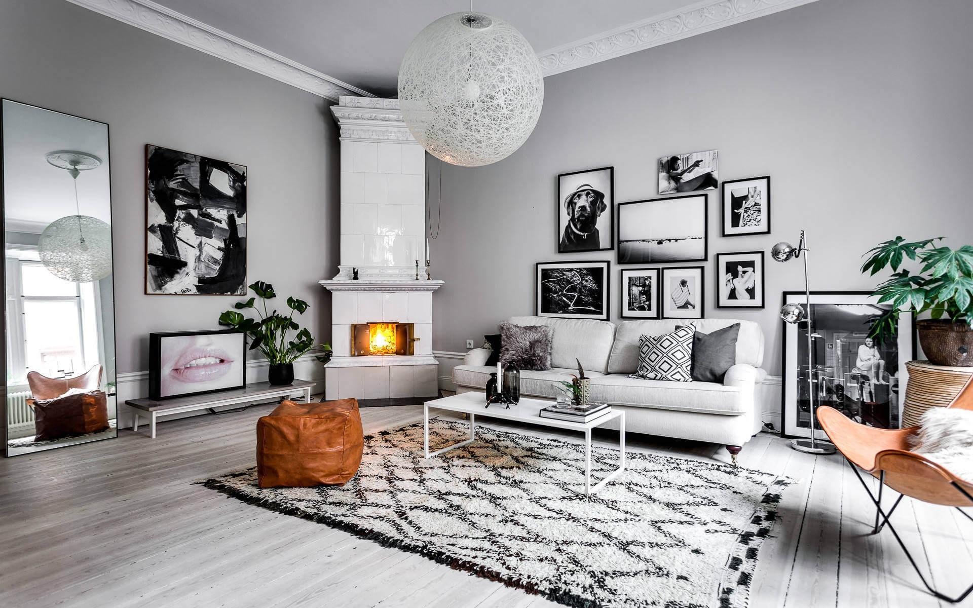 Wohnzimmer, Sofa, Fotos, Kamin, Schwarz-Weiß-Stil 1920x1200 ...