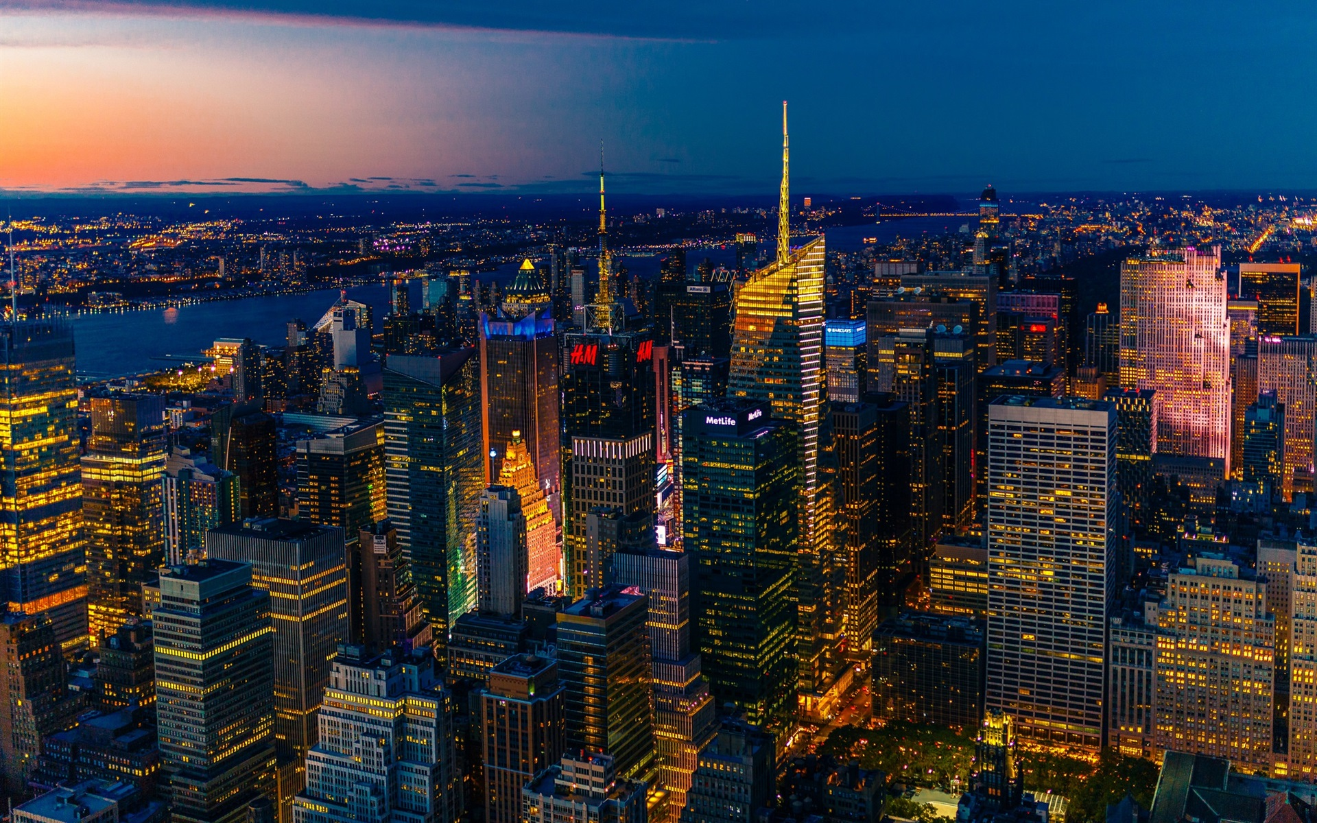 Wallpaper New York Night View Panorama Skyscrapers Lights Usa 1920x1200 Hd Picture Image