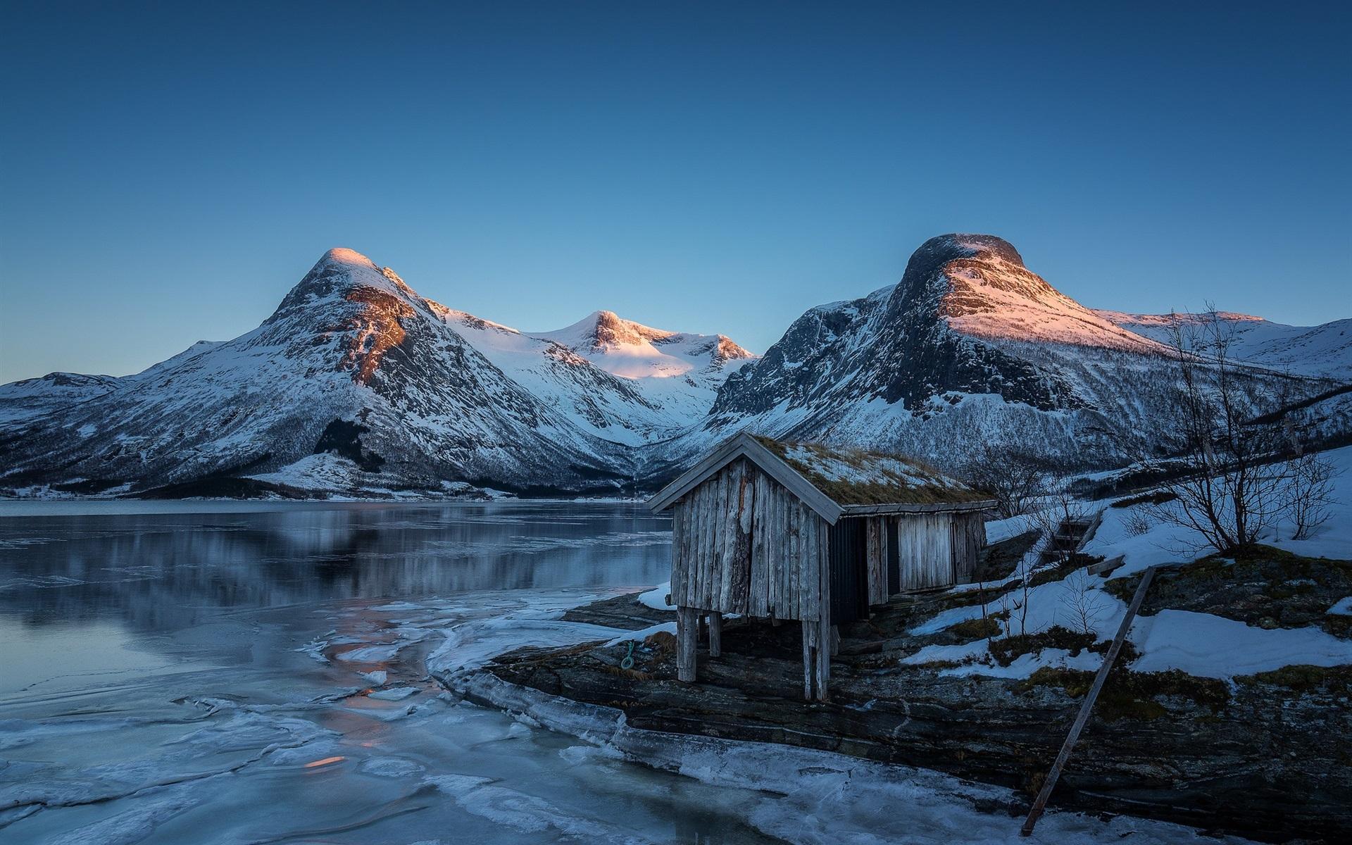 Lago Con Montañas Nevadas Hd: Fondos De Pantalla Noruega, Montañas, Lago, Nieve