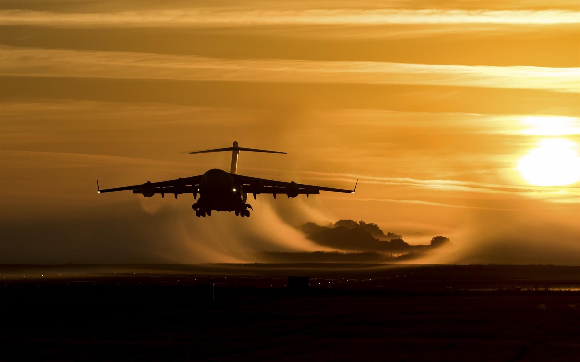 Wallpaper Plane Landing Sunset 1920x1200 Hd Picture Image