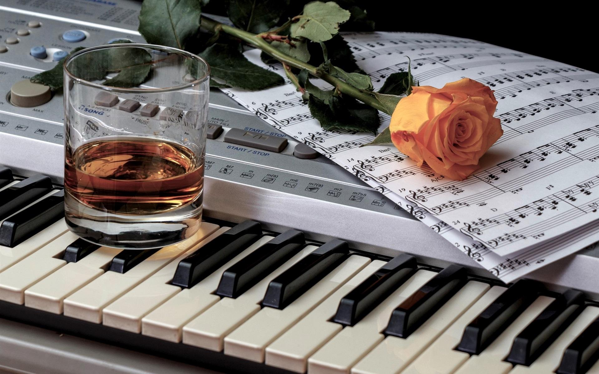 Wallpaper Wine Piano Music Score Rose 1920x1200 HD Picture Image
