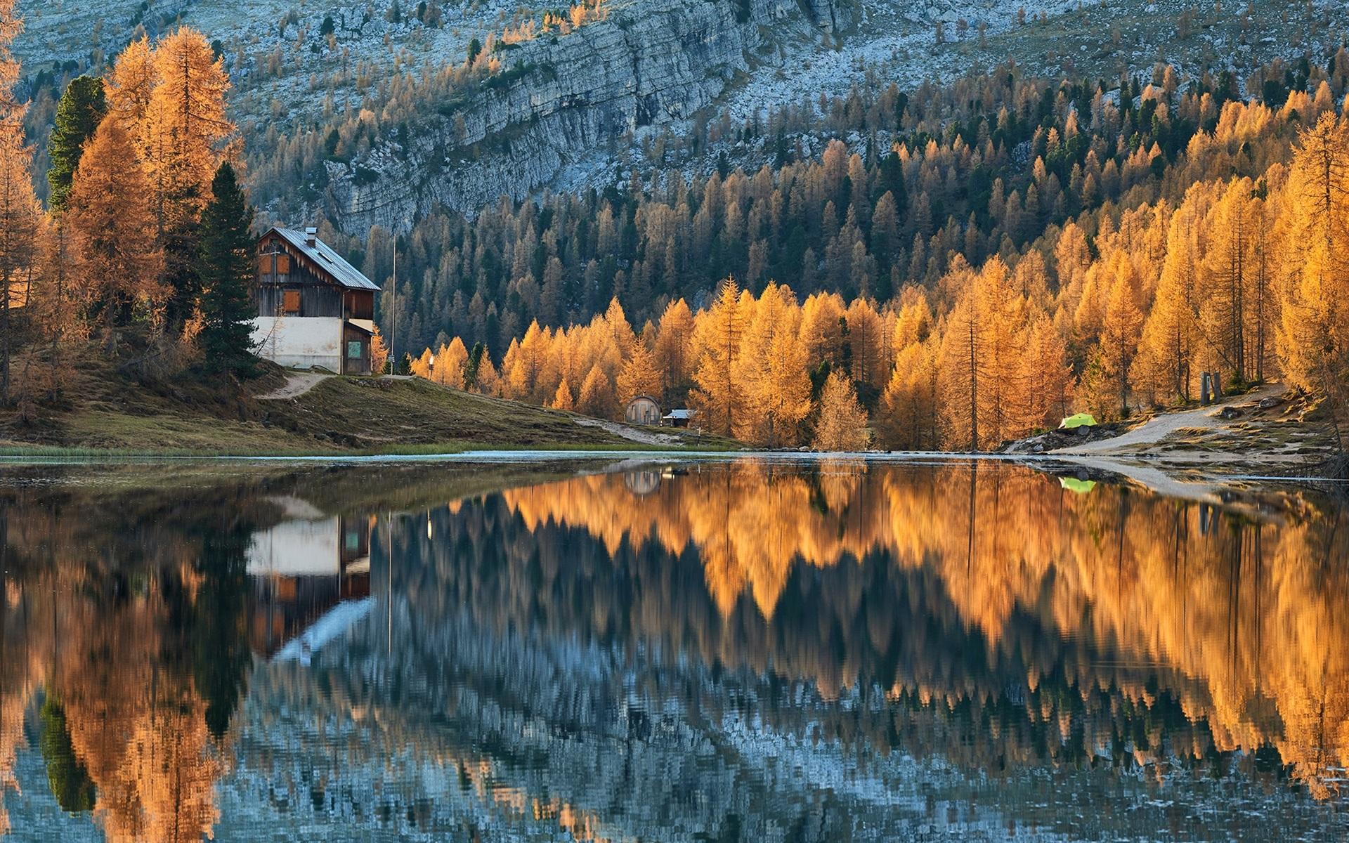 Wallpaper Autumn, forest, lake, mountains, houses ...