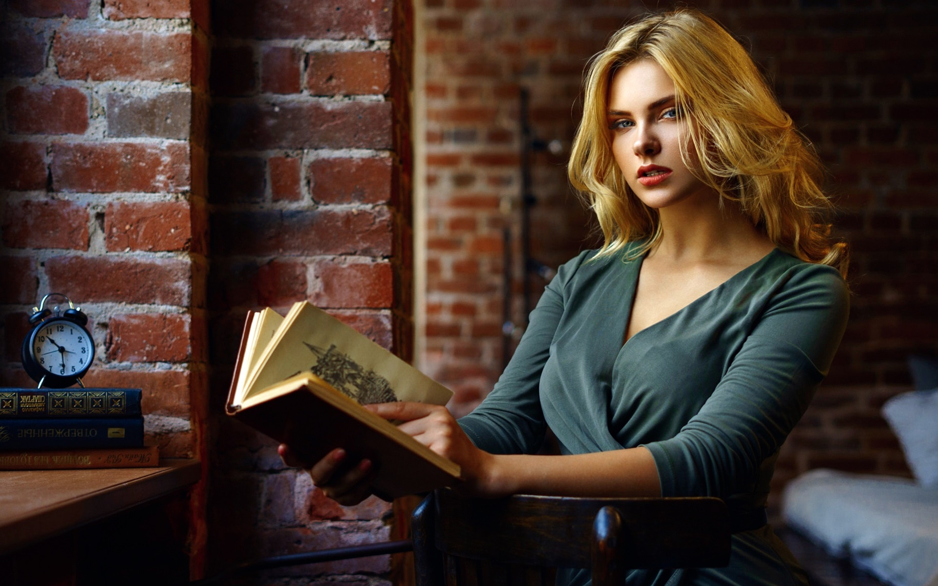 Wallpaper Blonde Girl Reading Book Bricks Wall 1920x1200 Hd