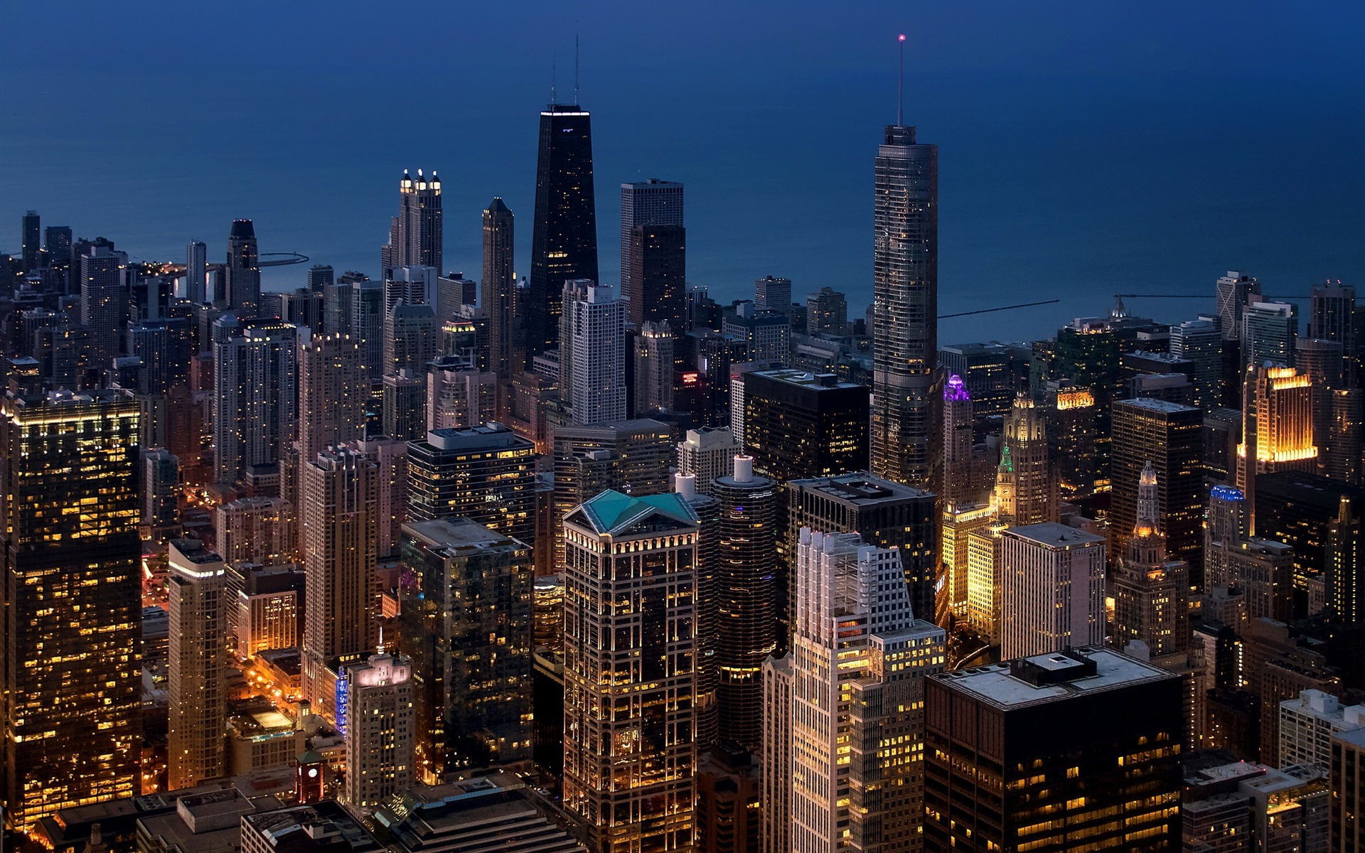 Chicago Megapolis City Skyscrapers Lights Night Usa
