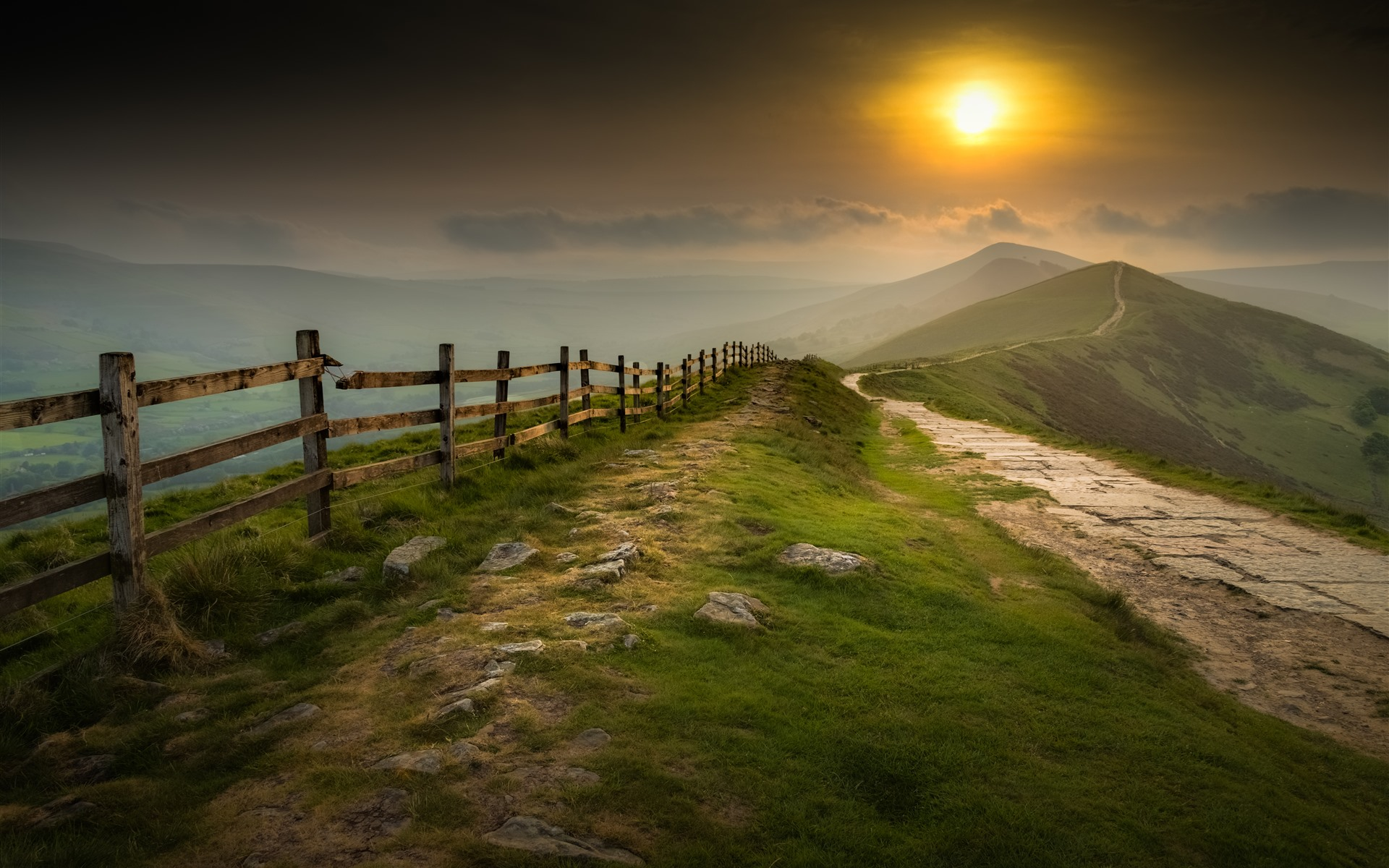 Wallpaper Mountains Fence Fog Sunrise 5120x2880 Uhd 5k Picture Image