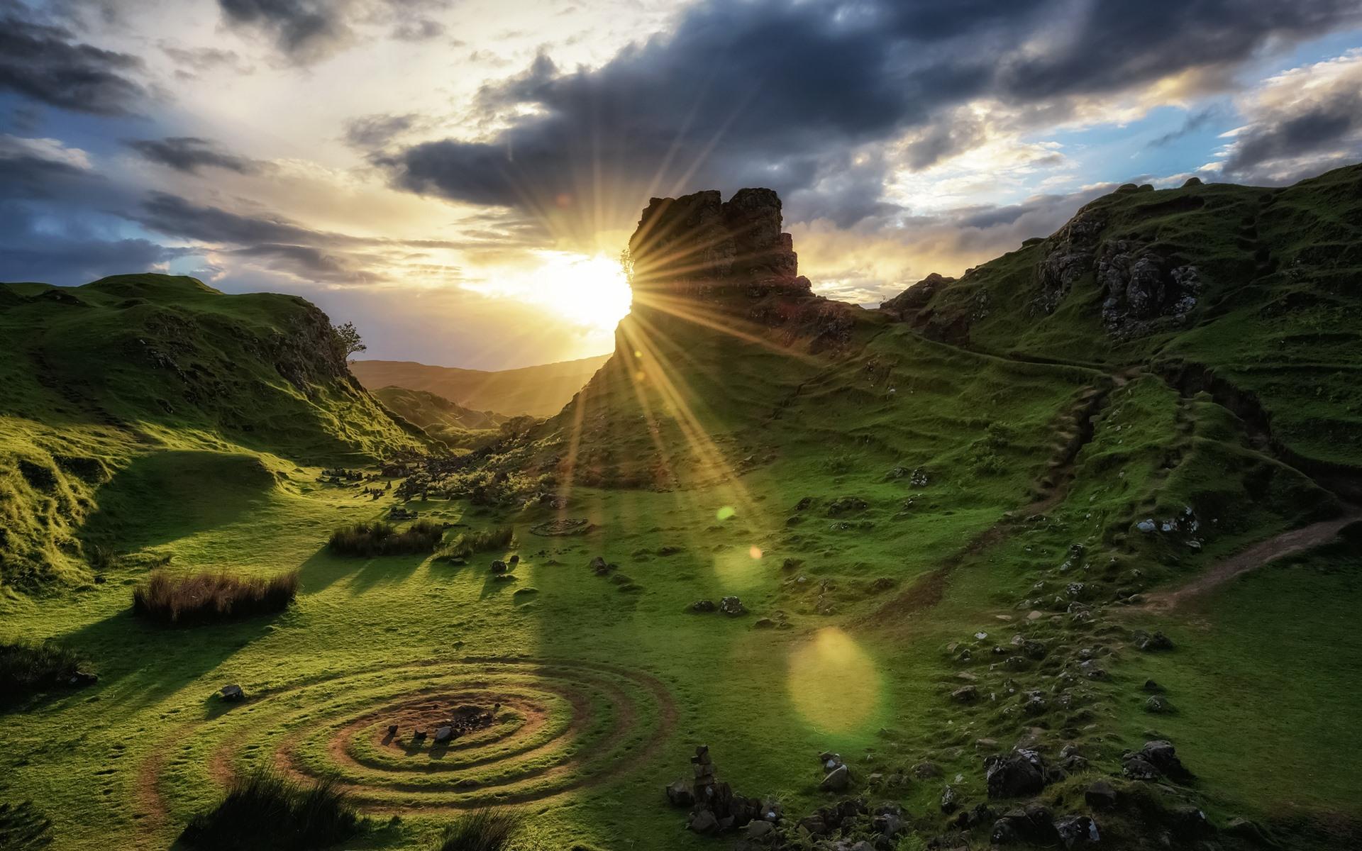 Wallpaper Scotland Isle Of Skye Nature Landscape Green Clouds