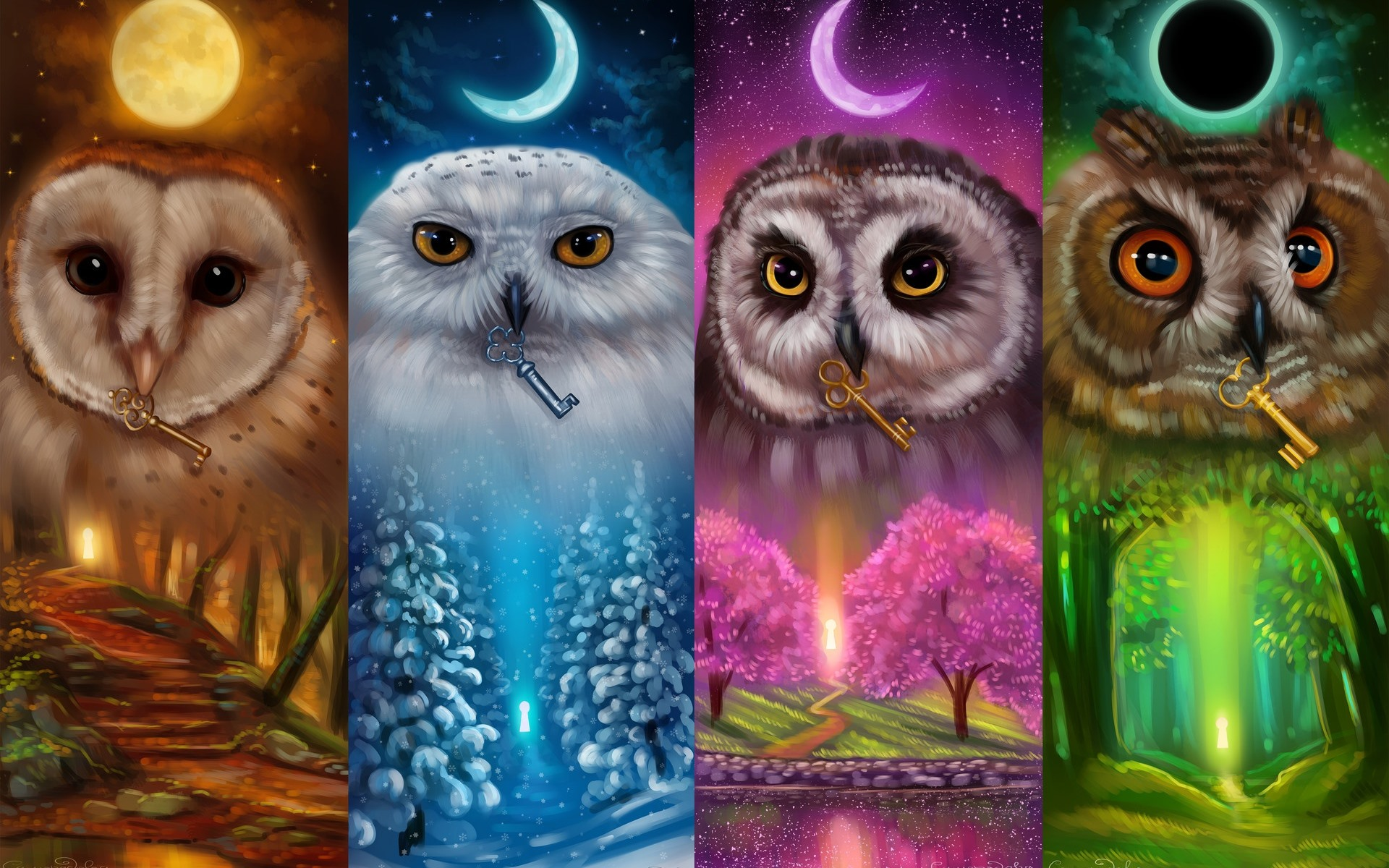 Wallpaper Colorful Owls Four Season Art Picture 1920x1200