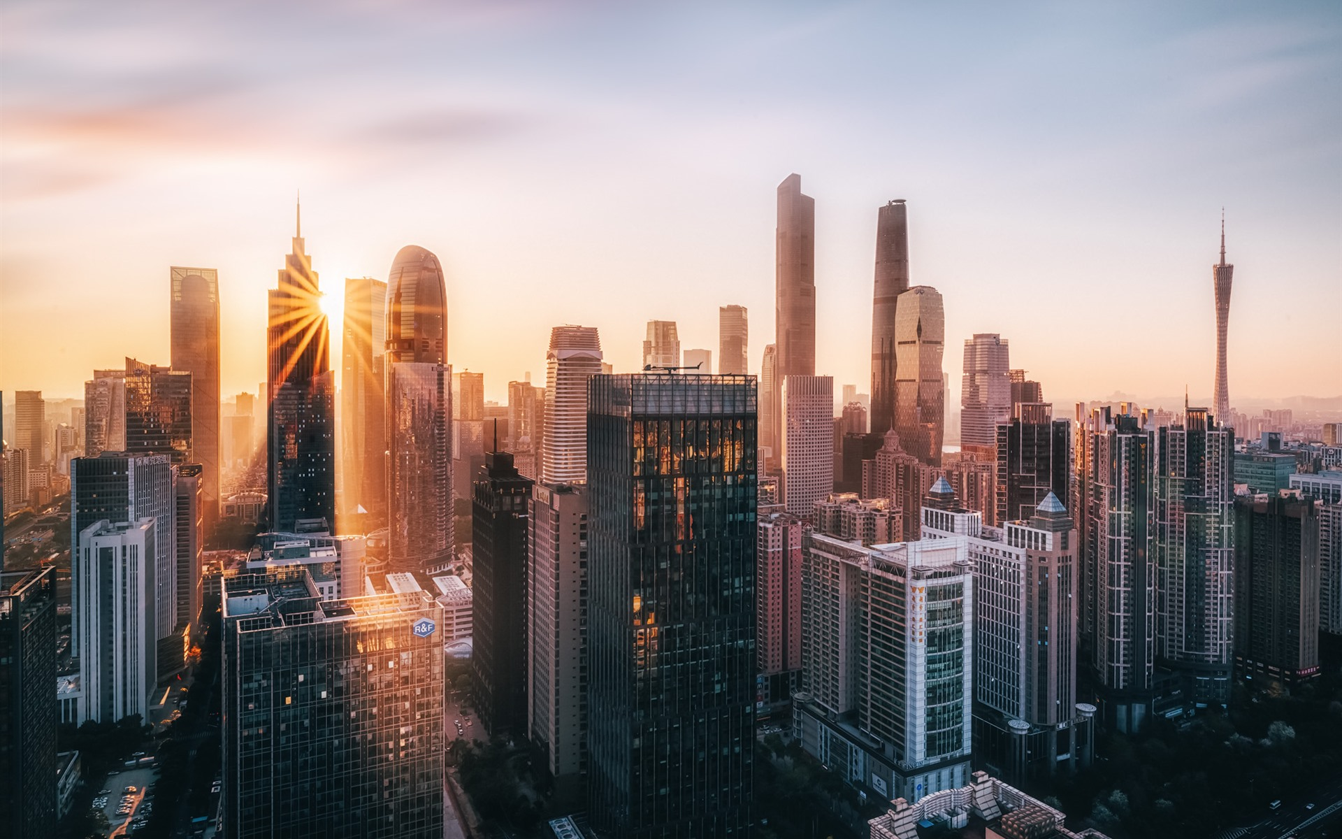 Wallpaper Morden city, Guangzhou, China, skyscrapers, morning, sun