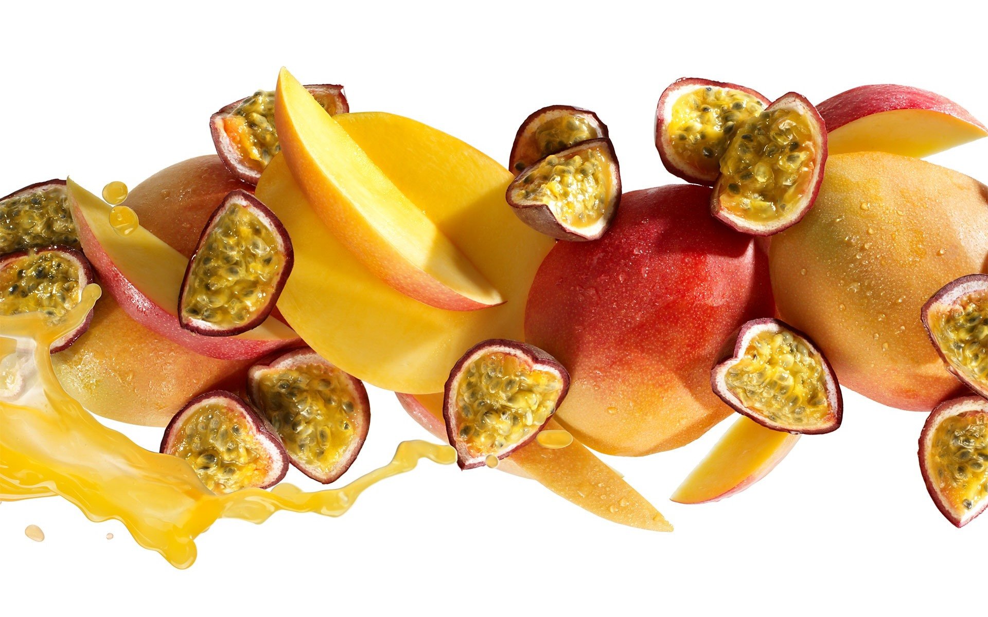 Wallpaper Passion Fruit Mango Apple Slices 1920x1200 Hd Picture Image