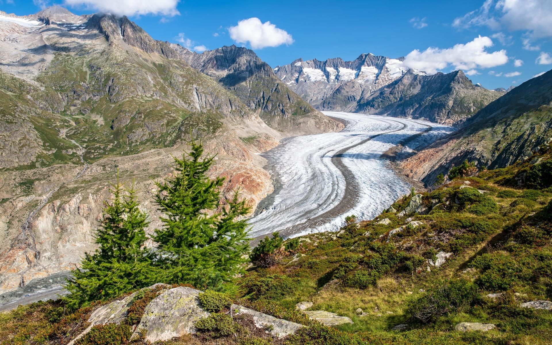 Wallpaper Swiss Alps Mountains Snow Frozen River