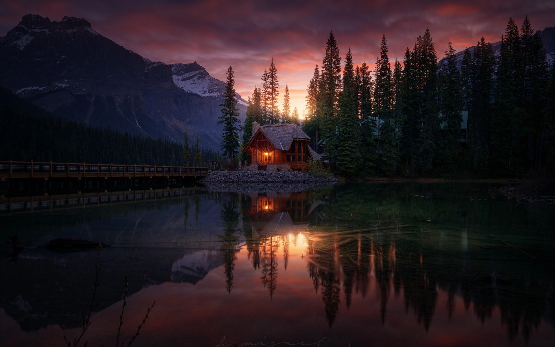 Wallpaper Forest Lake House Sunset Dusk 1920x1440 Hd Picture Image