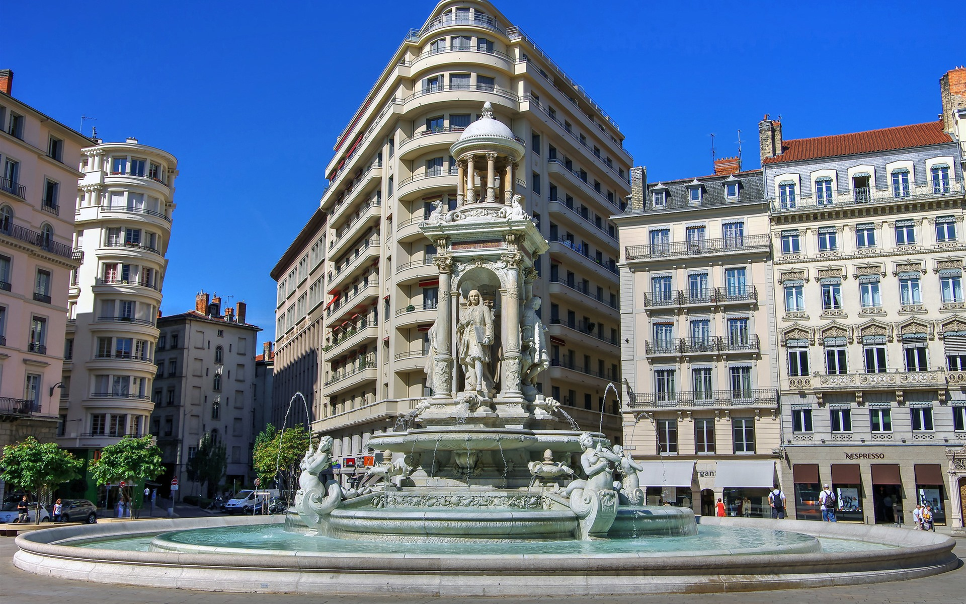 Wallpaper Lyon France City Statue Monument Fountain 1920x1200 Hd Picture Image