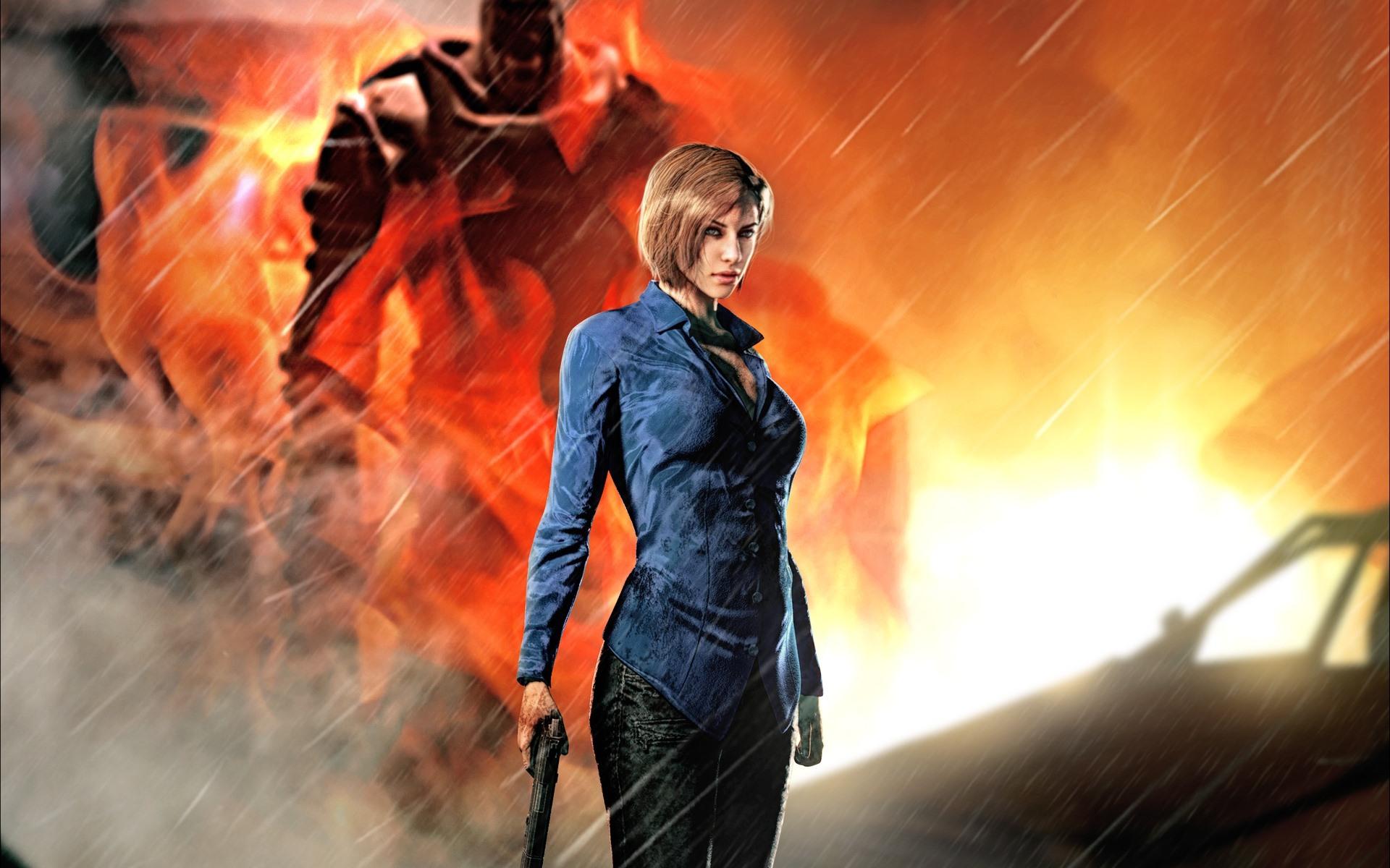 Wallpaper Resident Evil 3 Nemesis Girl Gun Rain 1920x1200 Hd
