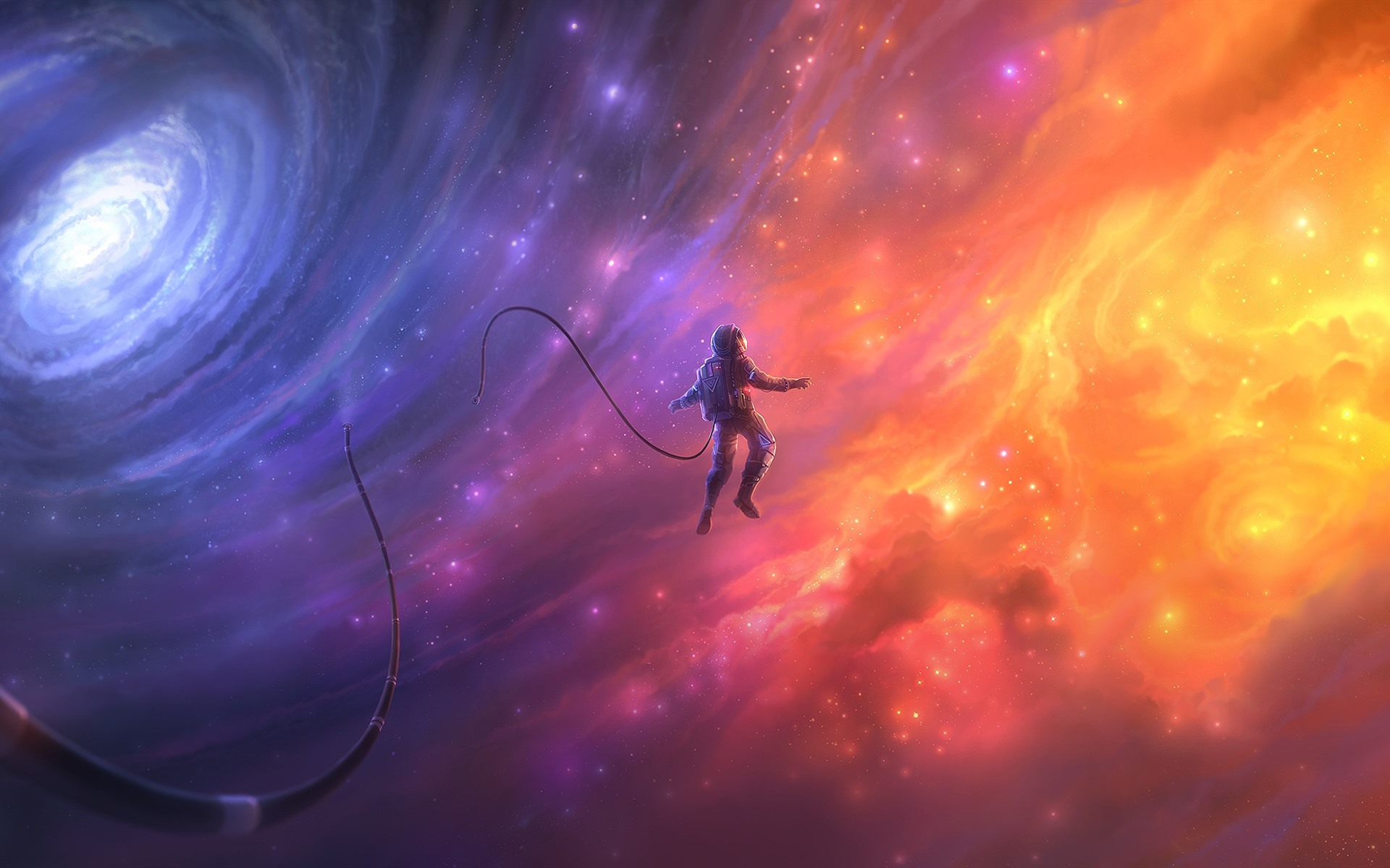 Beautiful space astronaut galaxy art