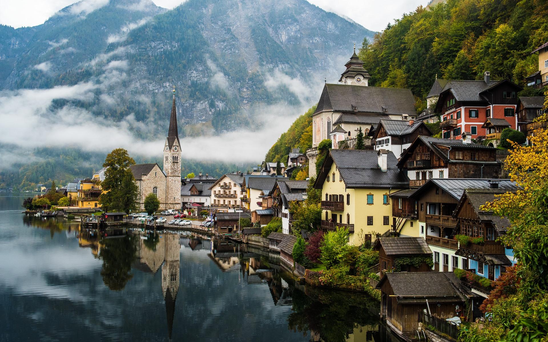 Обои austria, lake hallstatt, гальштат, hallstatt, австрия, дома. Природа foto 19
