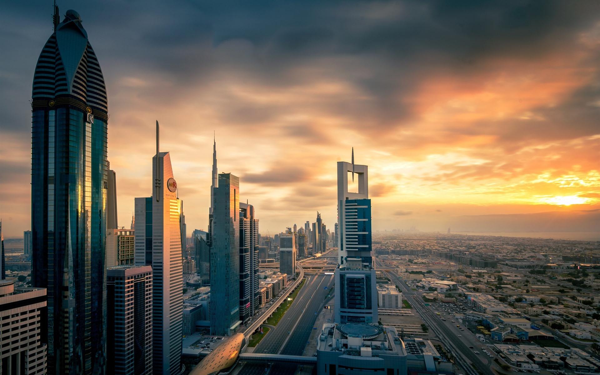 Wallpaper City At Sunset, Skyscrapers, Dubai, UAE