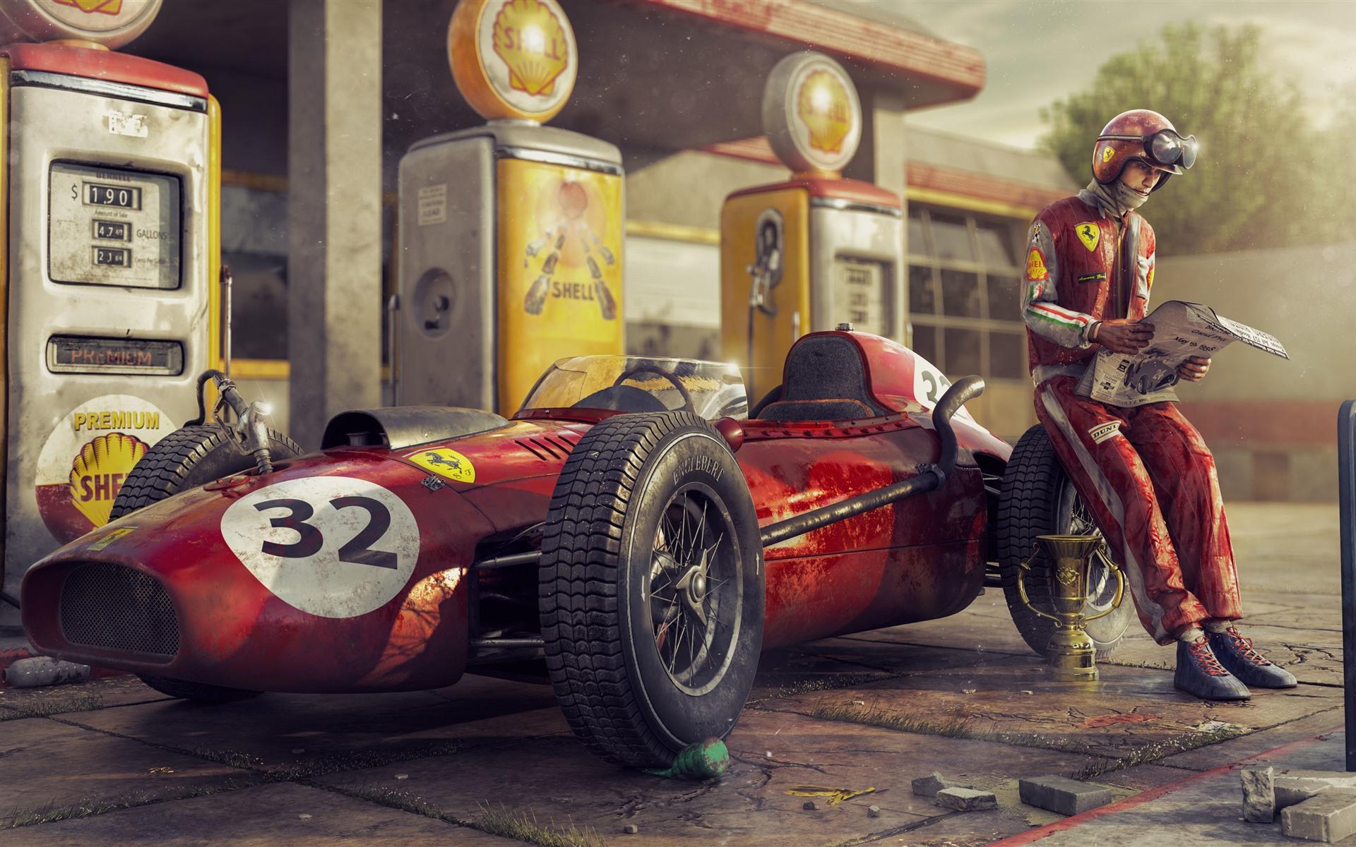 Wallpaper Ferrari F1 Racing Car Retro Driver 3840x2160