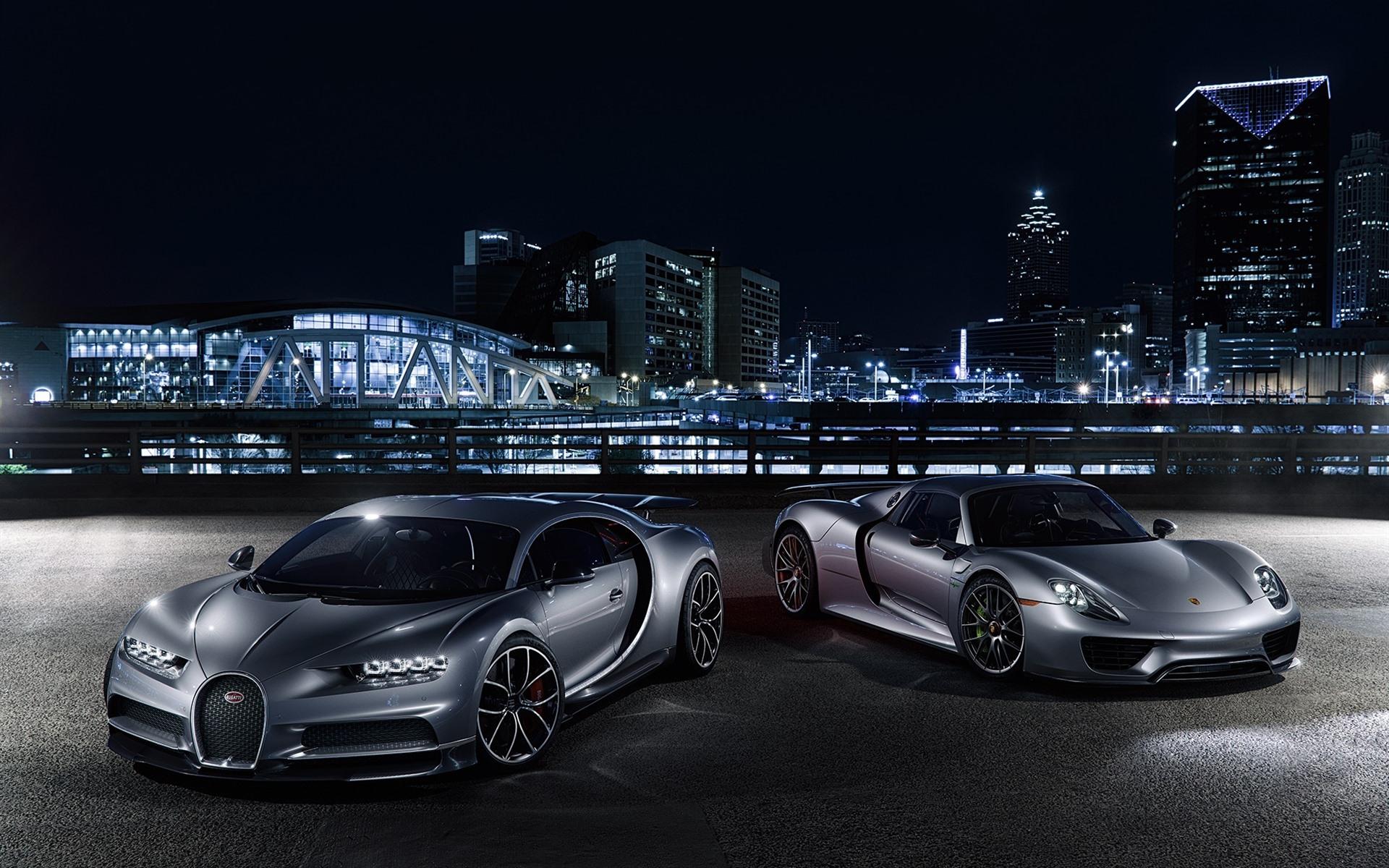 Wallpaper Porsche And Bugatti Supercar At City Night