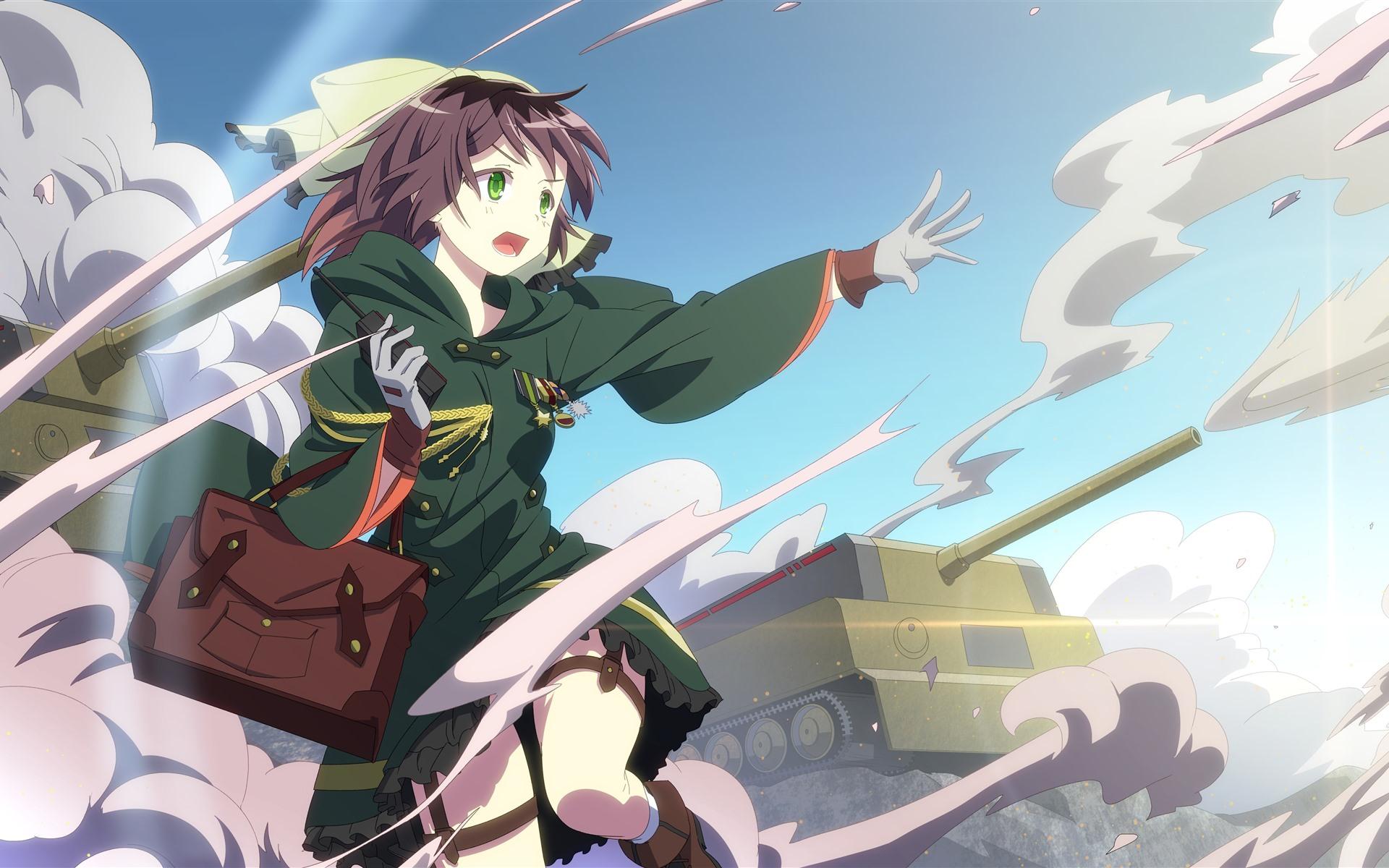 Wallpaper Green Eyes Anime Girl Tank War 5120x2880 Uhd 5k