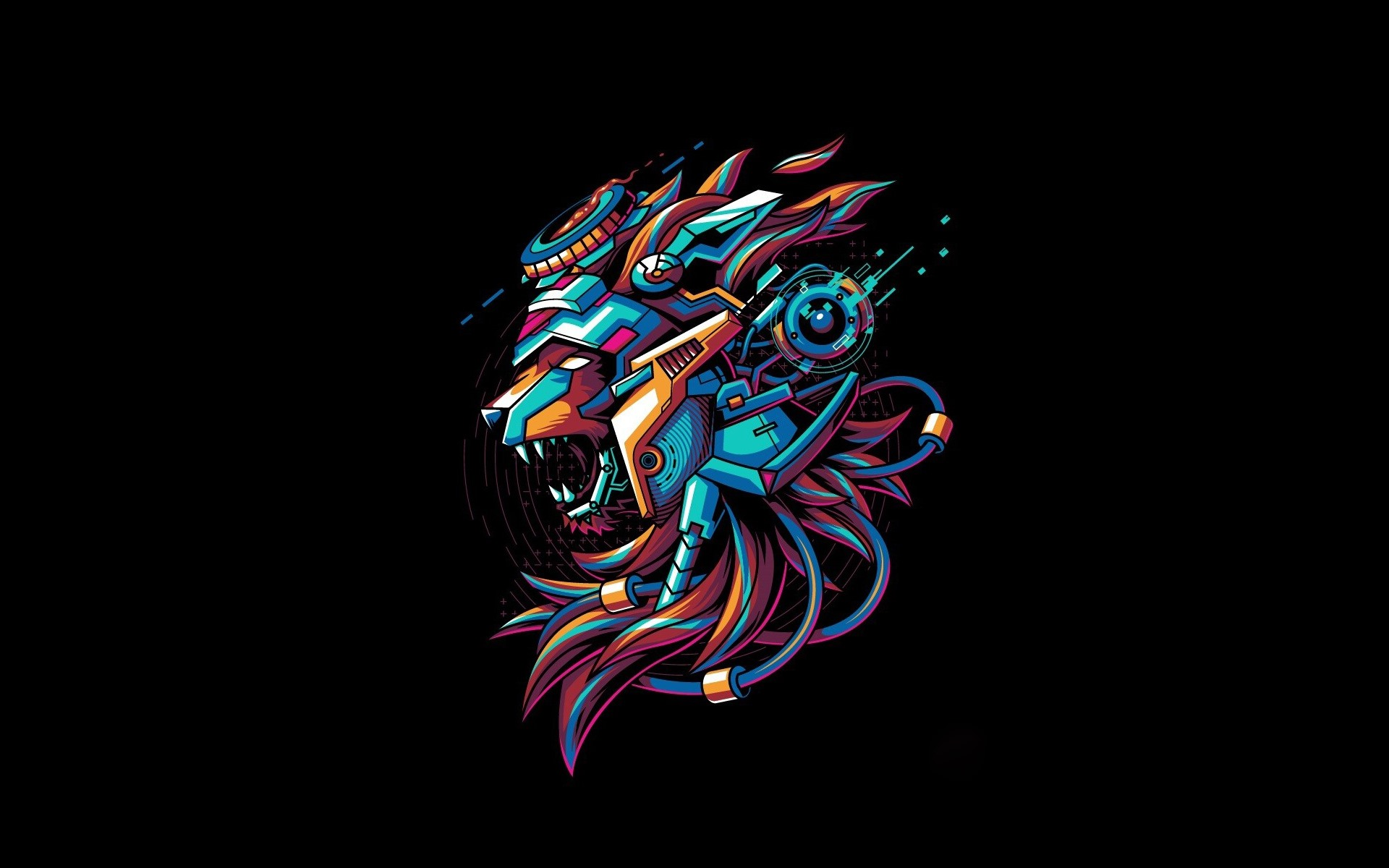 Lion Mecha Black Background Creative Design 640x1136 Iphone 5 5s 5c Se Wallpaper Background Picture Image