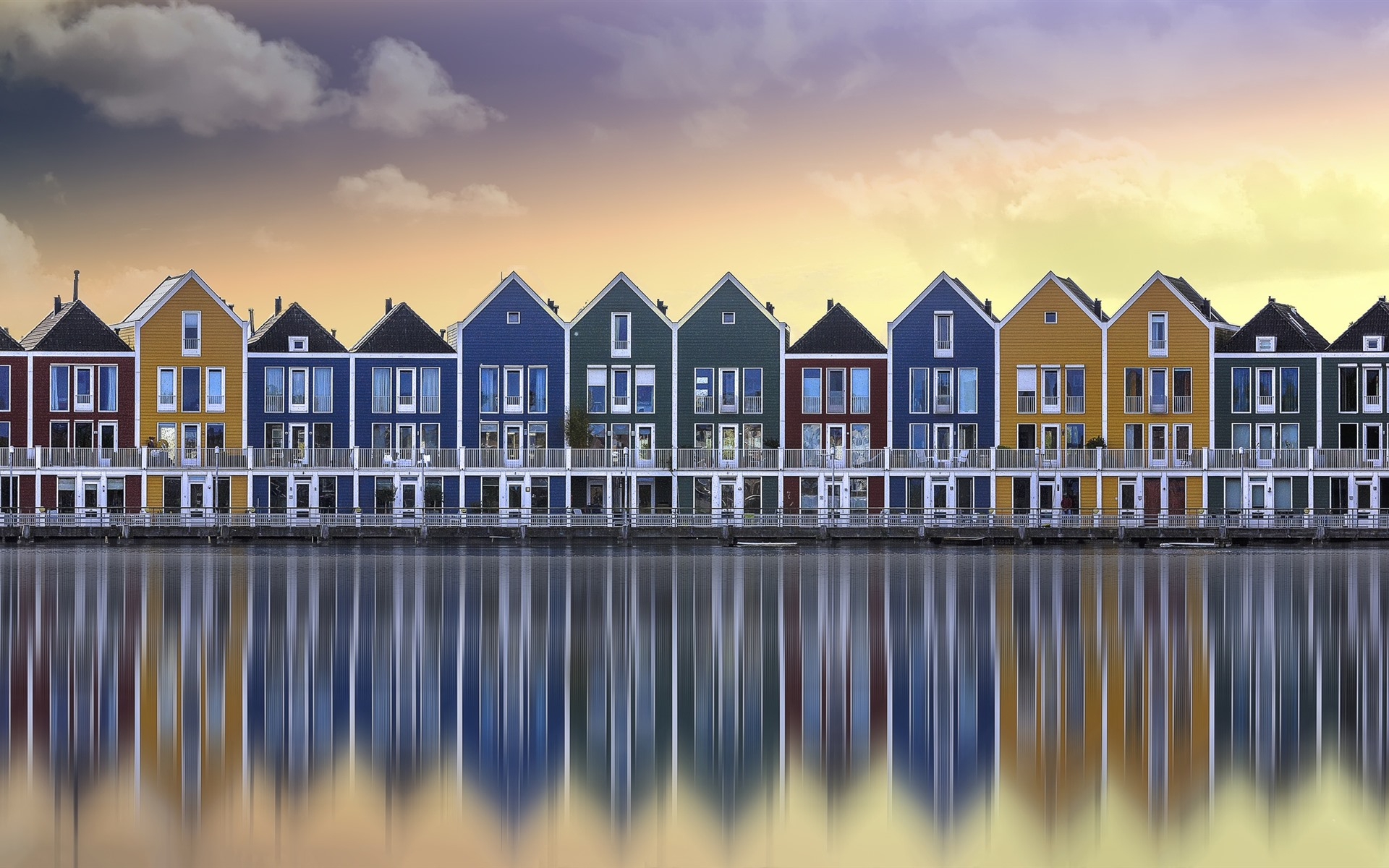 river houses colors water reflection