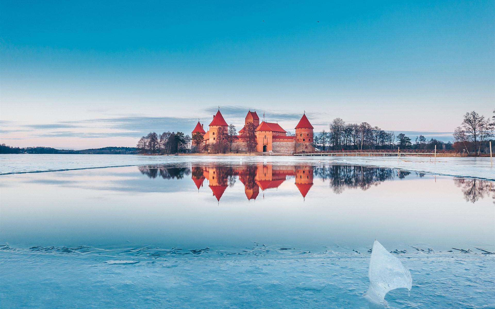 Wallpaper Trakai Lithuania Castle Lake Snow Ice Winter 1920x1200 Hd Picture Image