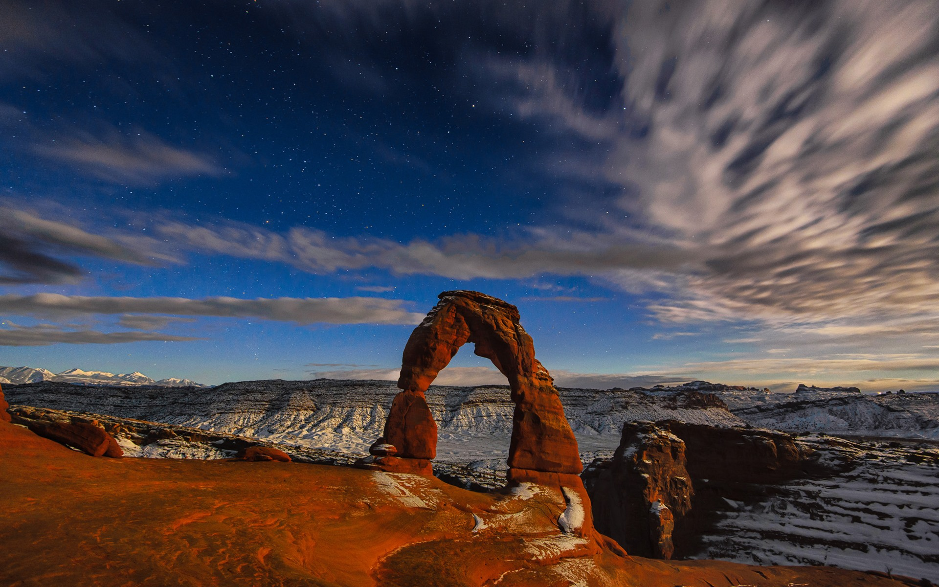 Wallpaper Arches National Park Rock Arch Starry Dusk Usa