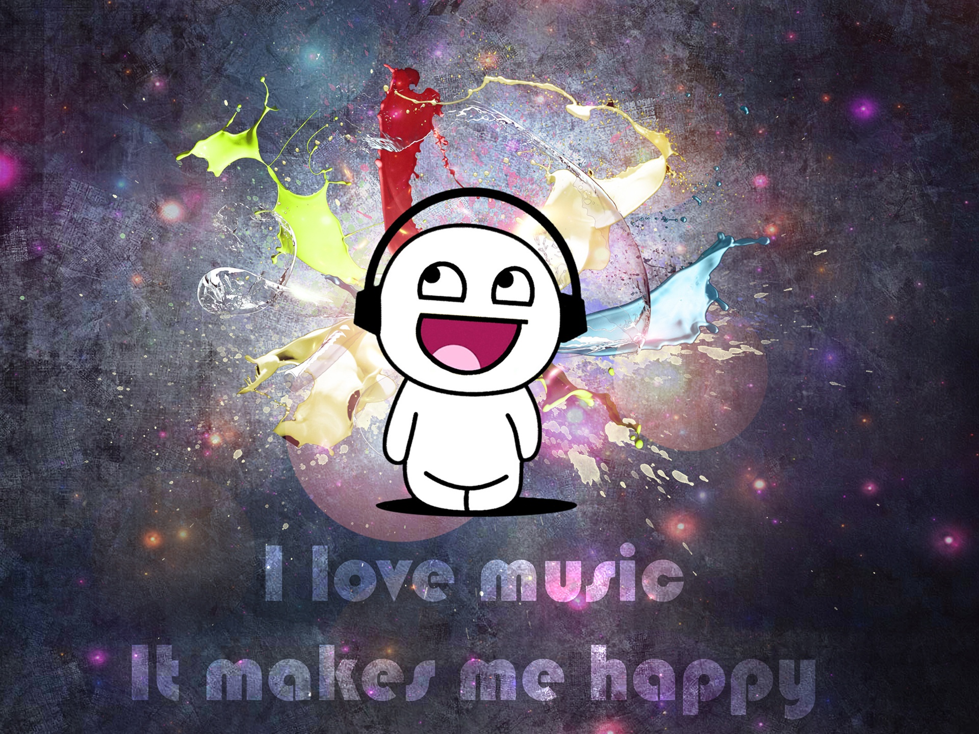 wallpaper i love music, it makes me happy 2560x1600 hd picture, image