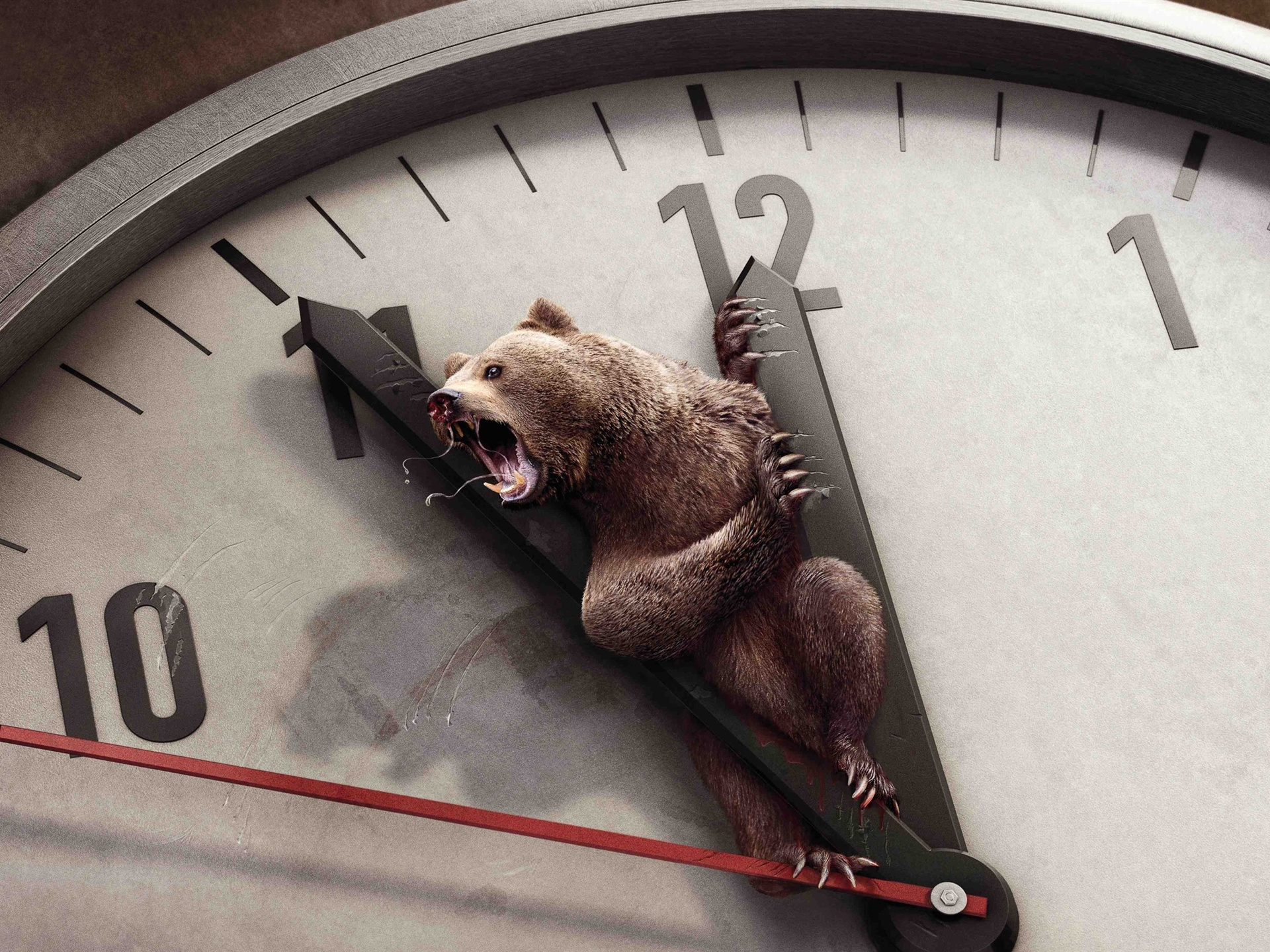Creative picture of bear on the clock dial wallpaper - 1920x1440
