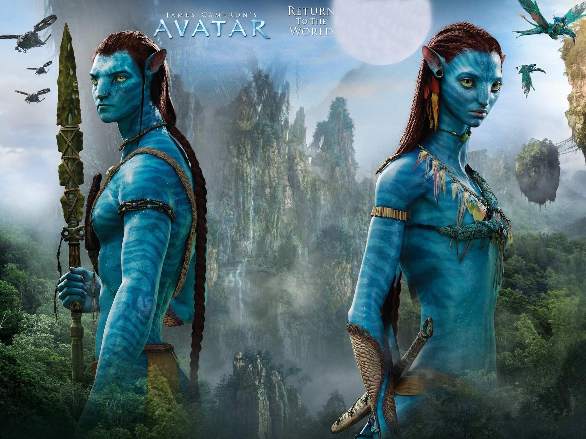 wallpaper avatar, blue skin, james cameron's movie 1920x1440 hd
