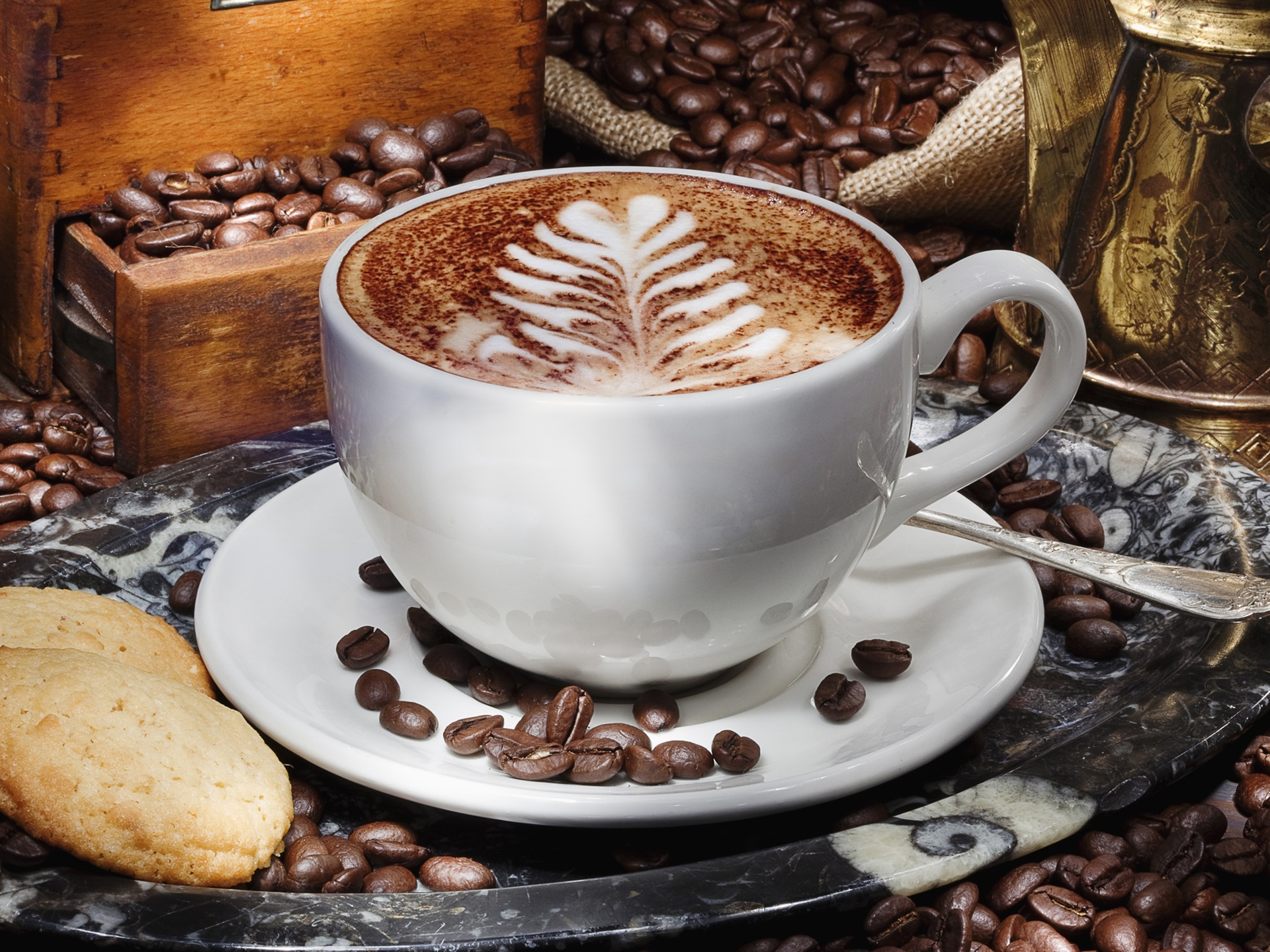 wallpaper a cup of cappuccino coffee saucer grain biscuits 2560x1600 hd picture image. Black Bedroom Furniture Sets. Home Design Ideas
