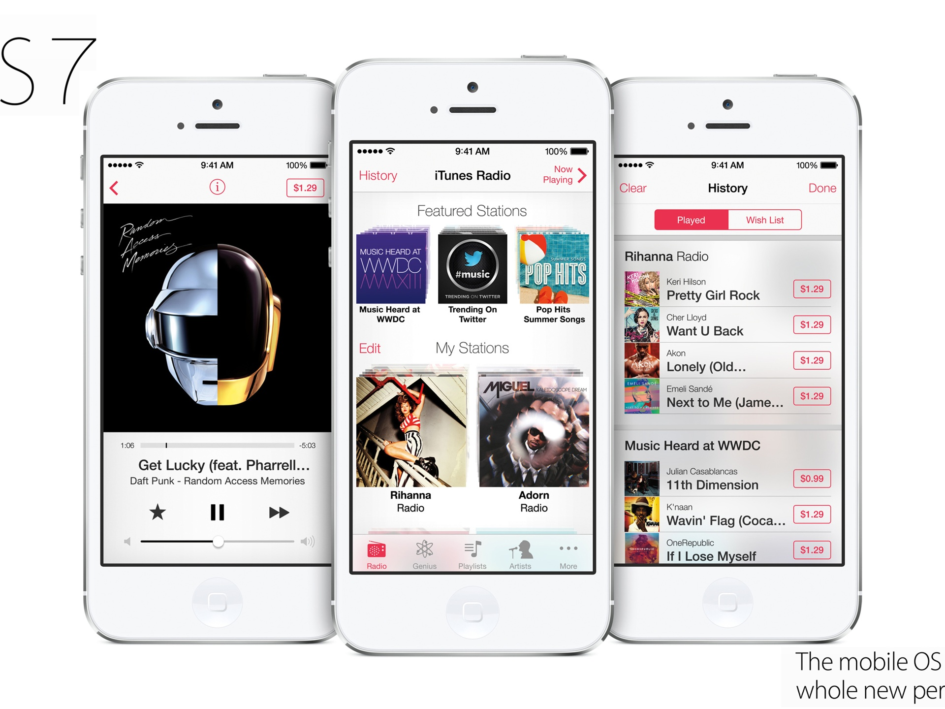 Wallpaper iPhone 5 iTunes Radio in iOS 7 system 2560x1600 HD