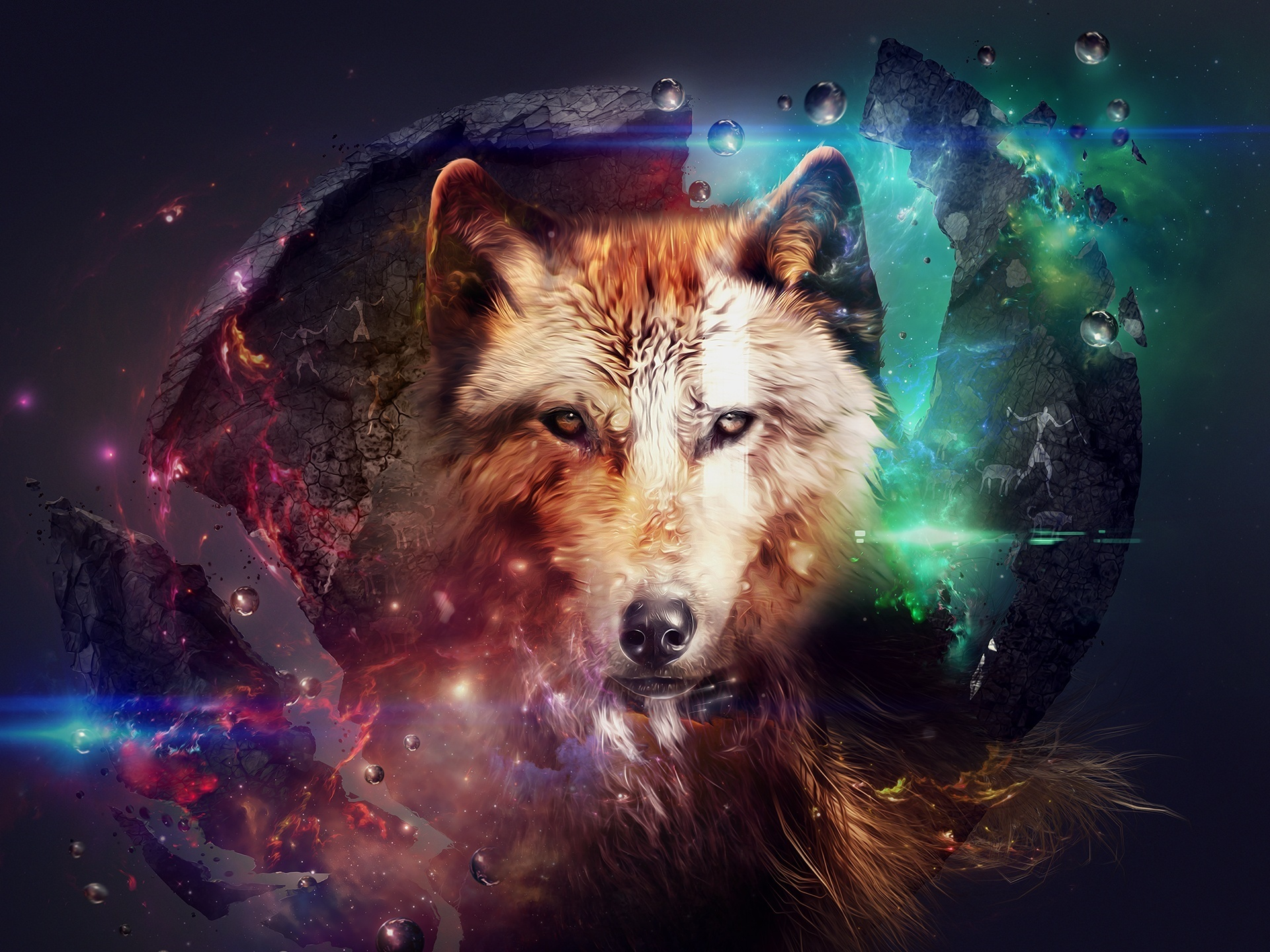 Wallpaper Abstract Design Wolf Collage Space Colorful