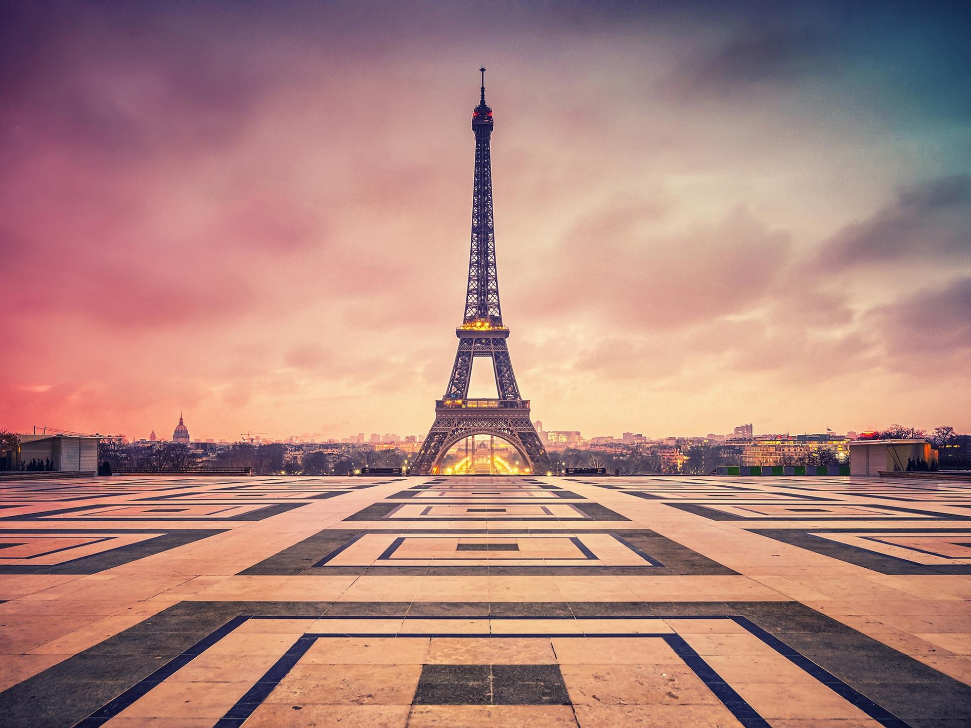 法国,巴黎,艾菲尔铁塔,晚上,黄昏 壁纸