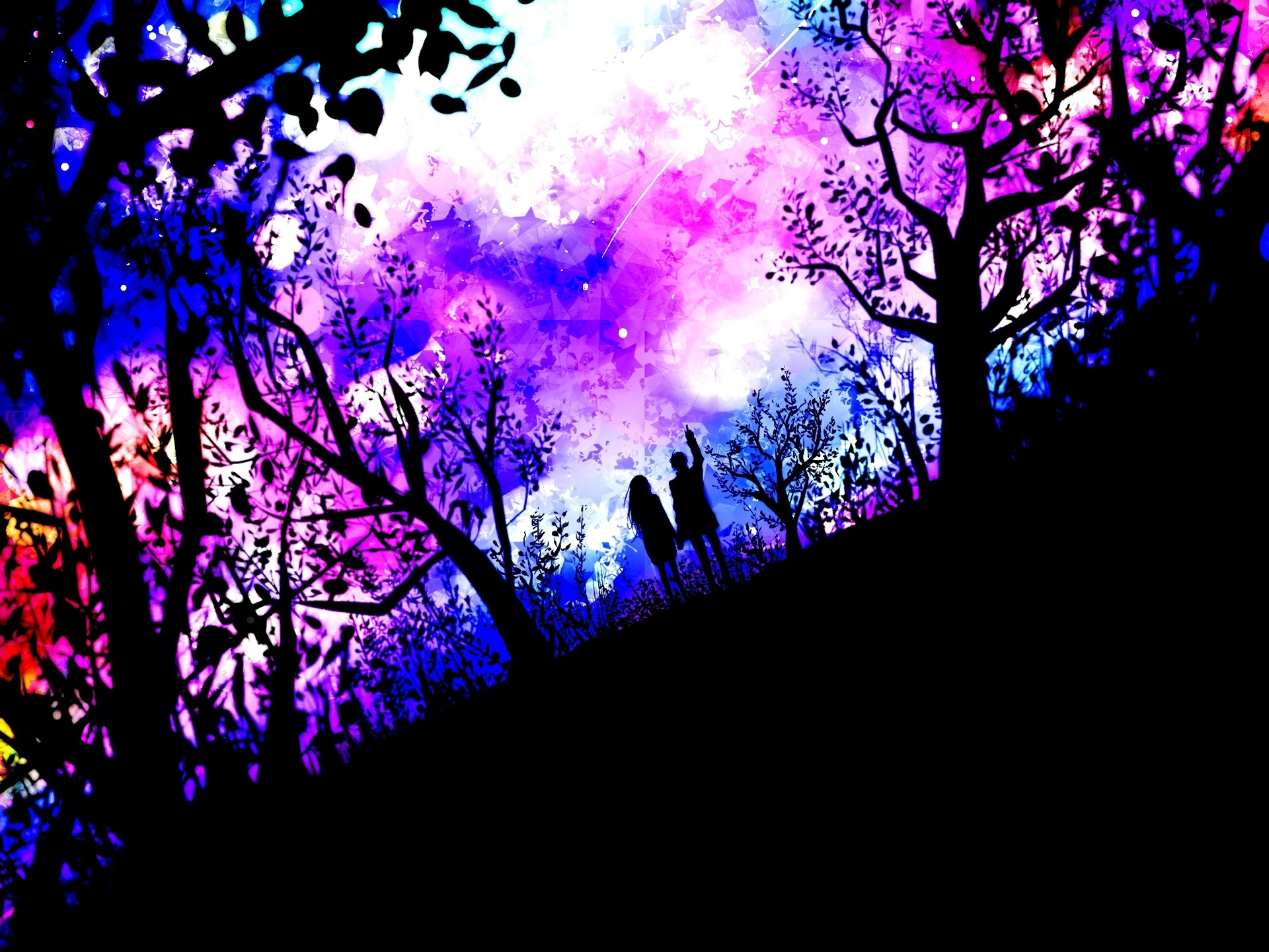壁紙 アート写真 カップル 自然 木 星 紫 1920x1440 Hd 無料の
