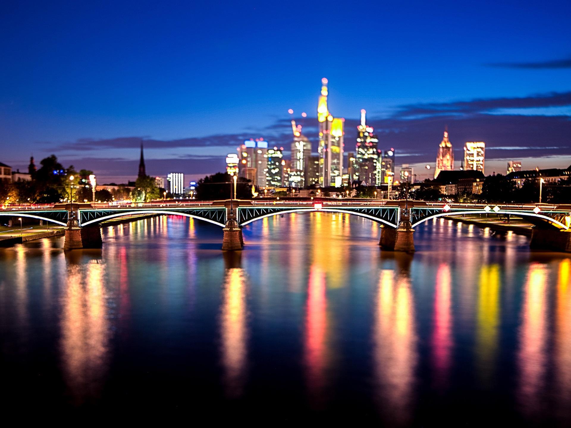страны архитектура вечер город Франкфурт-на-Майне Германия  № 155529  скачать