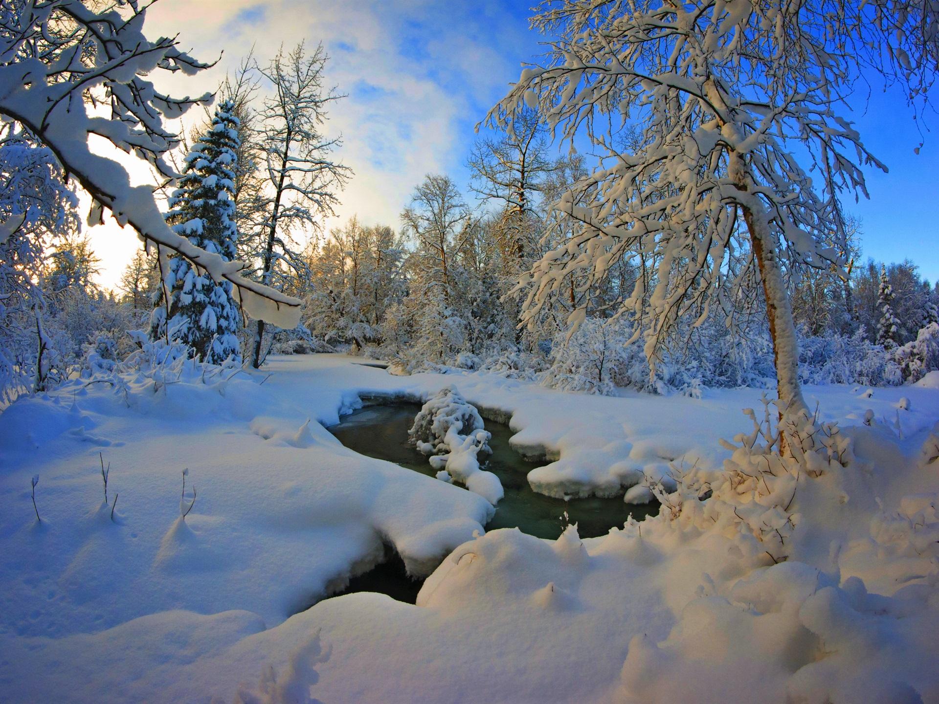 речка зима закат снег бесплатно
