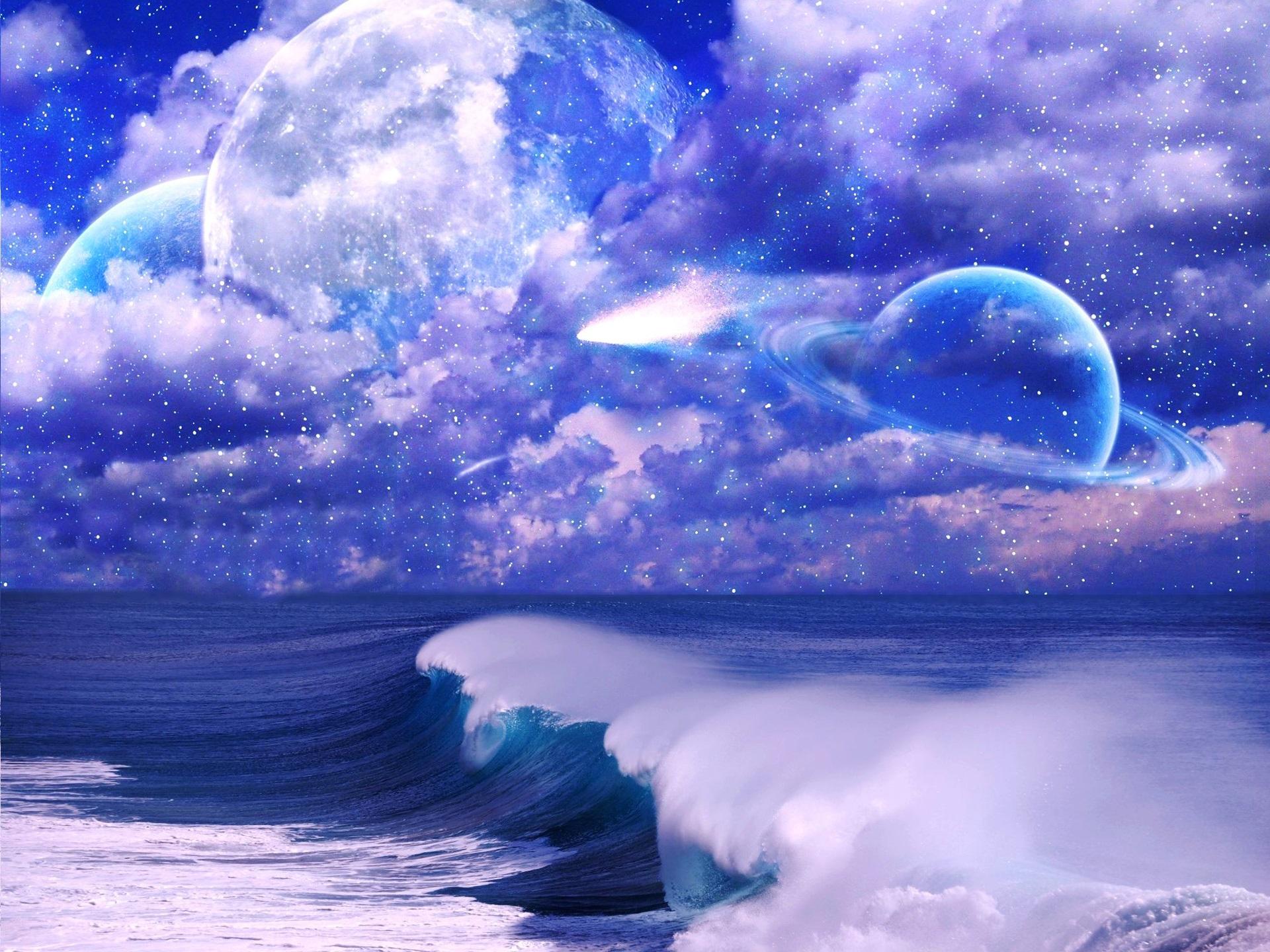 壁紙 アート写真 宇宙 空 雲 星 惑星 海 波 19x1440 Hd 無料のデスクトップの背景 画像